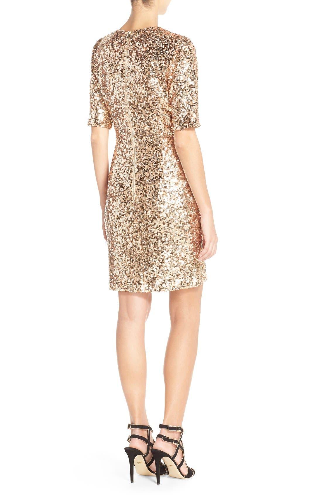 Sequin Mesh Faux Wrap Dress,                             Alternate thumbnail 6, color,