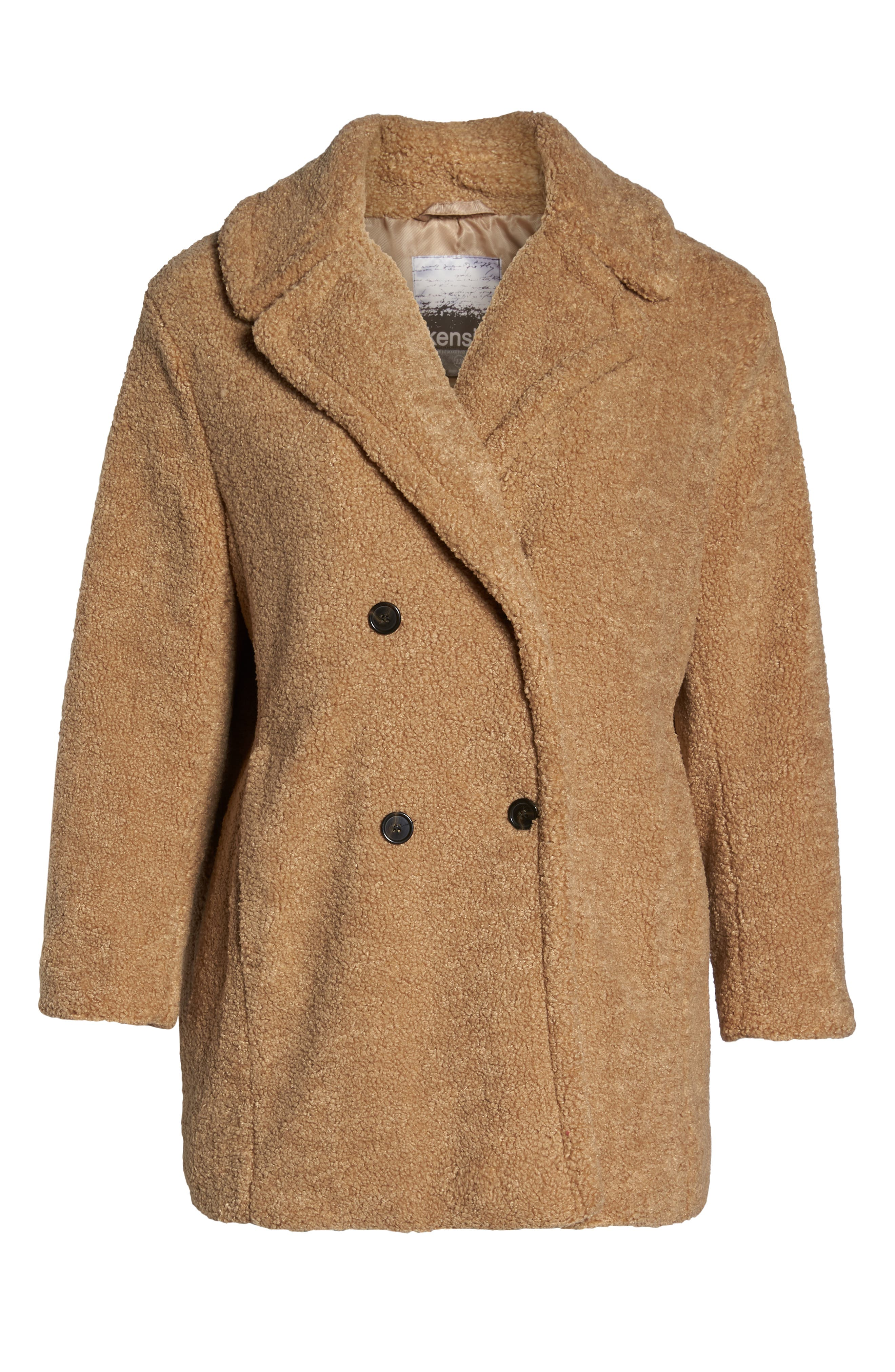 KENSIE,                             Teddy Bear Notch Collar Faux Fur Coat,                             Alternate thumbnail 6, color,                             788