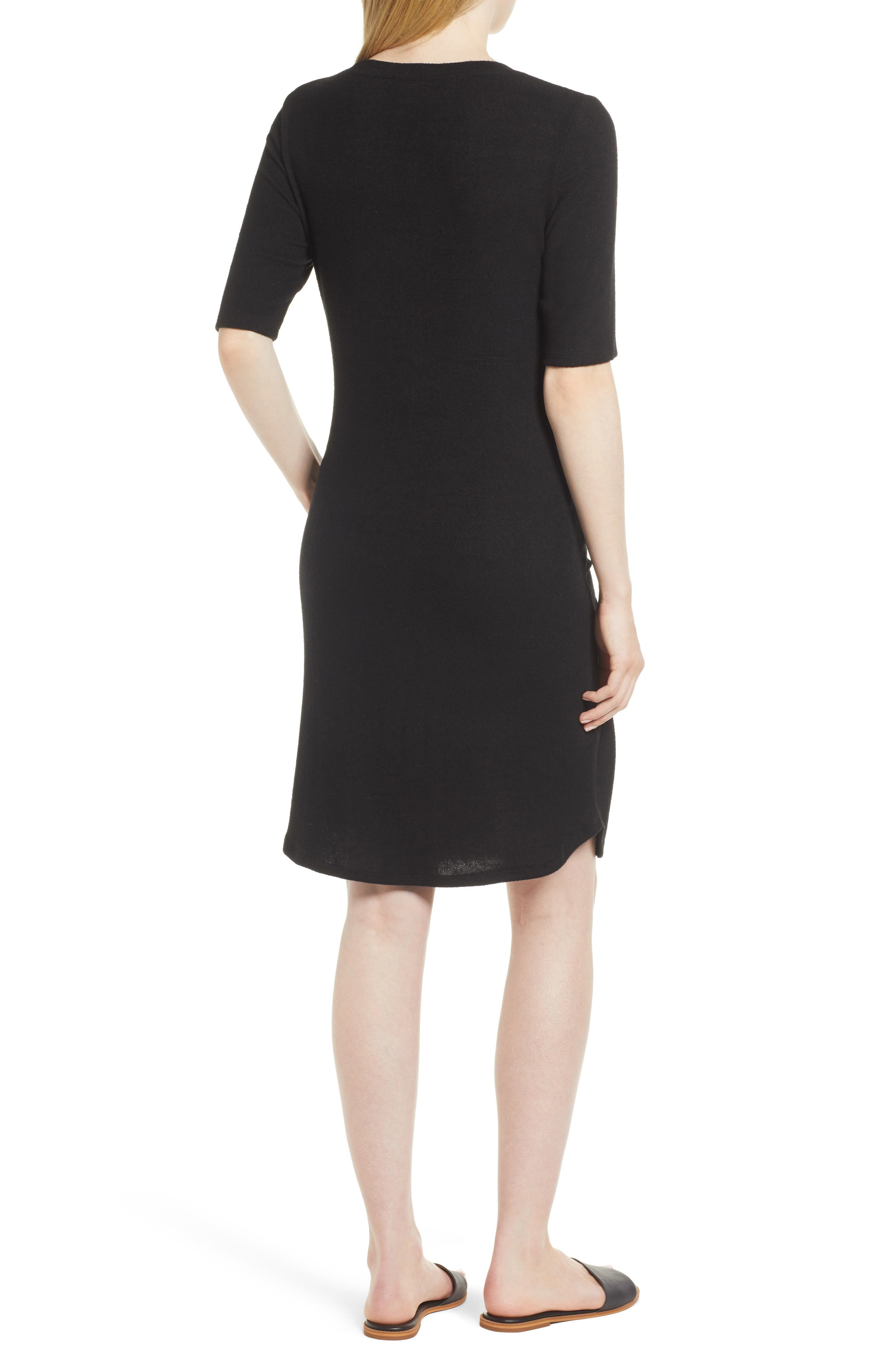 Caslon Off-Duty Tie Front Knit Dress,                             Alternate thumbnail 2, color,                             001