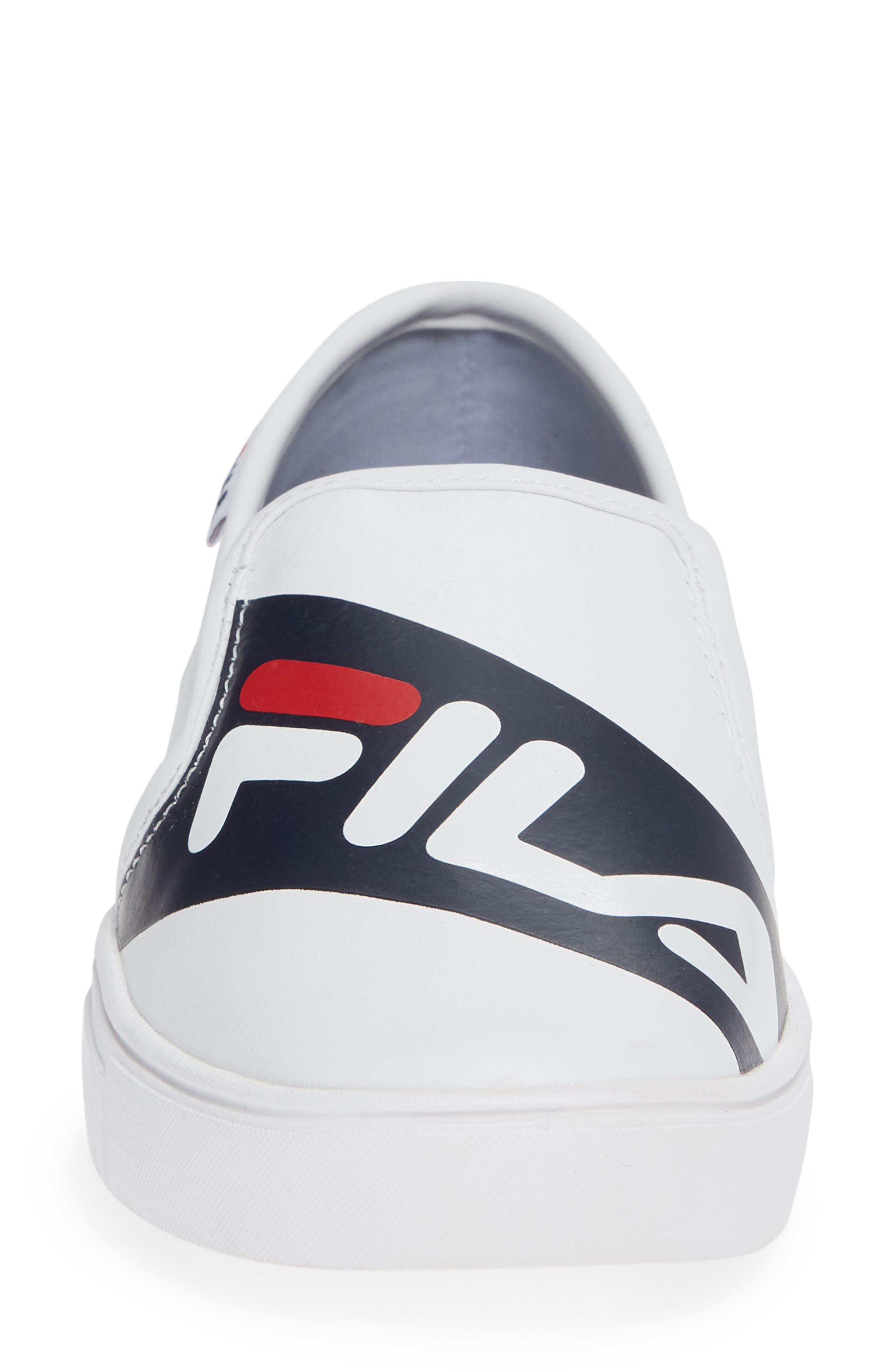 Original Slip-On Sneaker,                             Alternate thumbnail 4, color,                             WHT/ FNVY/ RED