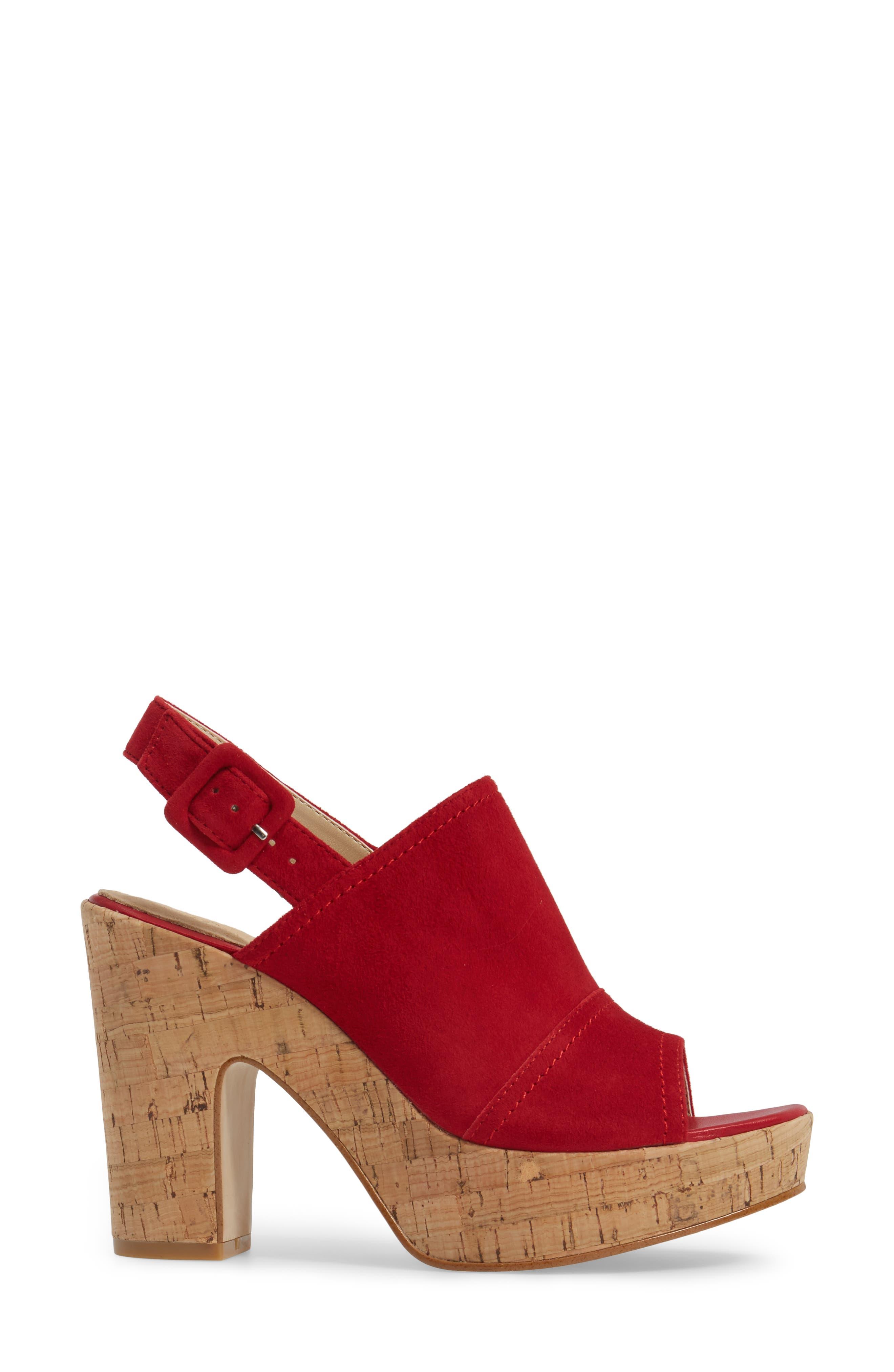 Gabriela Slingback Platform Sandal,                             Alternate thumbnail 3, color,                             FIRE RED SUEDE