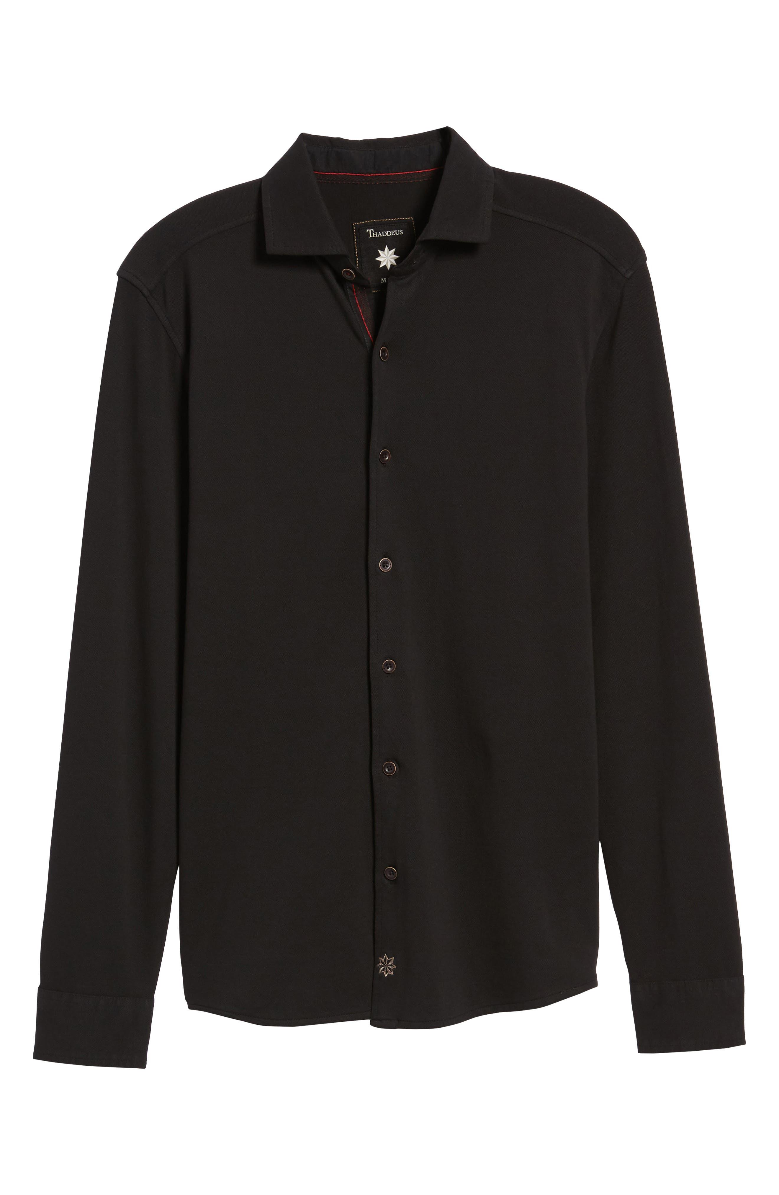 Shively Piqué Knit Sport Shirt,                             Alternate thumbnail 6, color,                             001