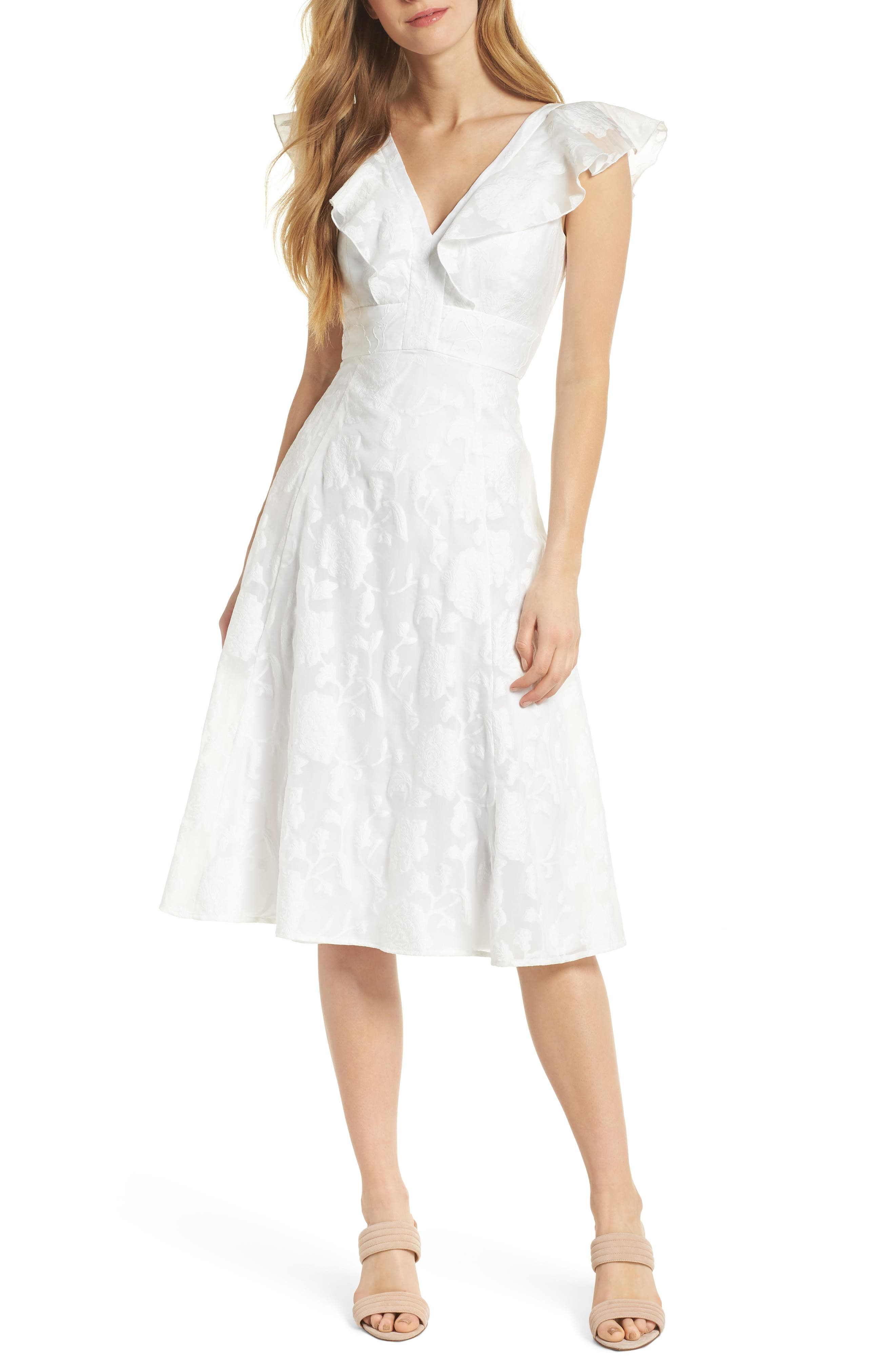 Susie Floral Organza Fit & Flare Dress,                             Alternate thumbnail 6, color,                             101