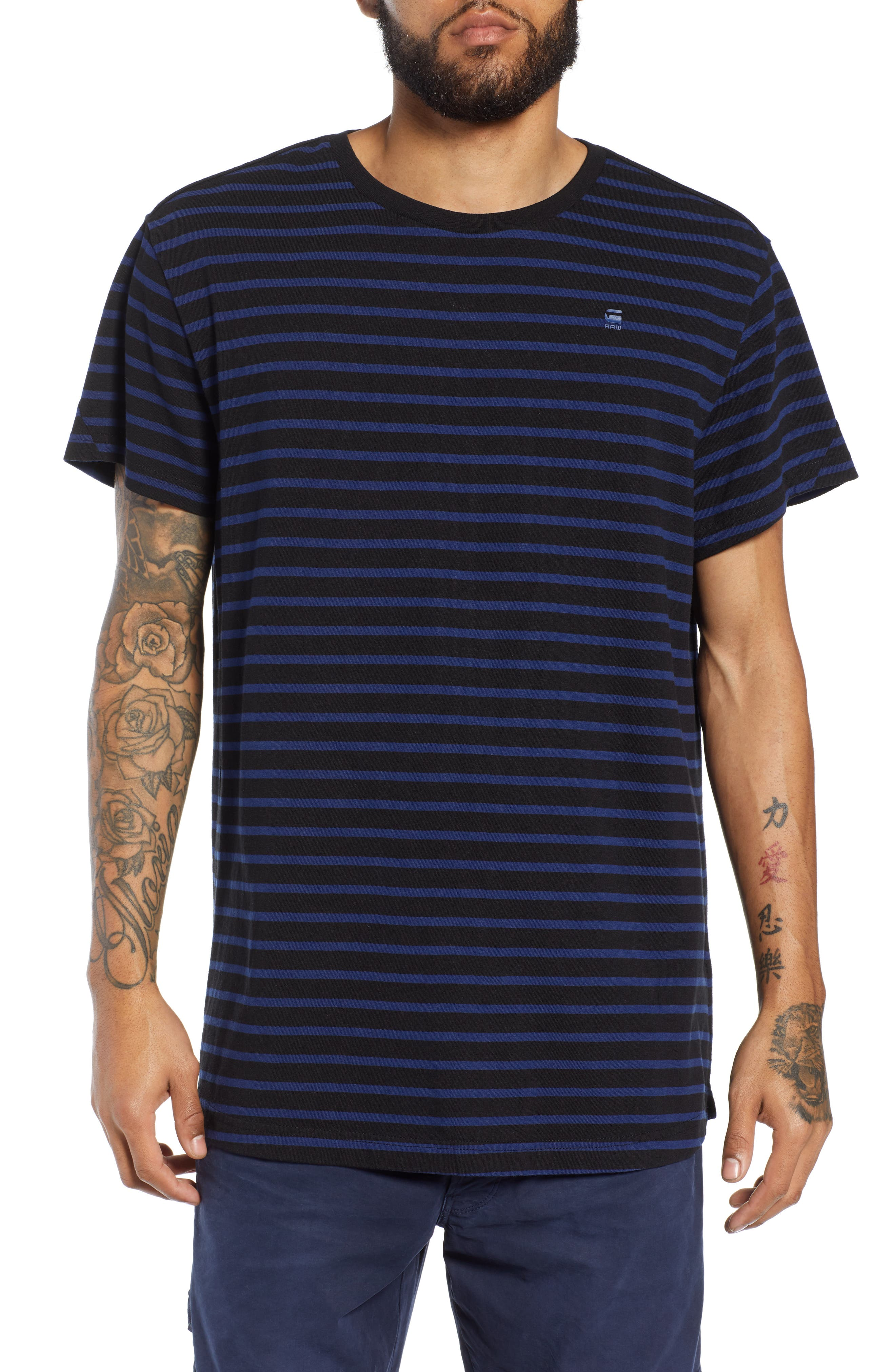 G-STAR RAW Starkon Stripe T-Shirt in Dark Black/ Imperial Blue