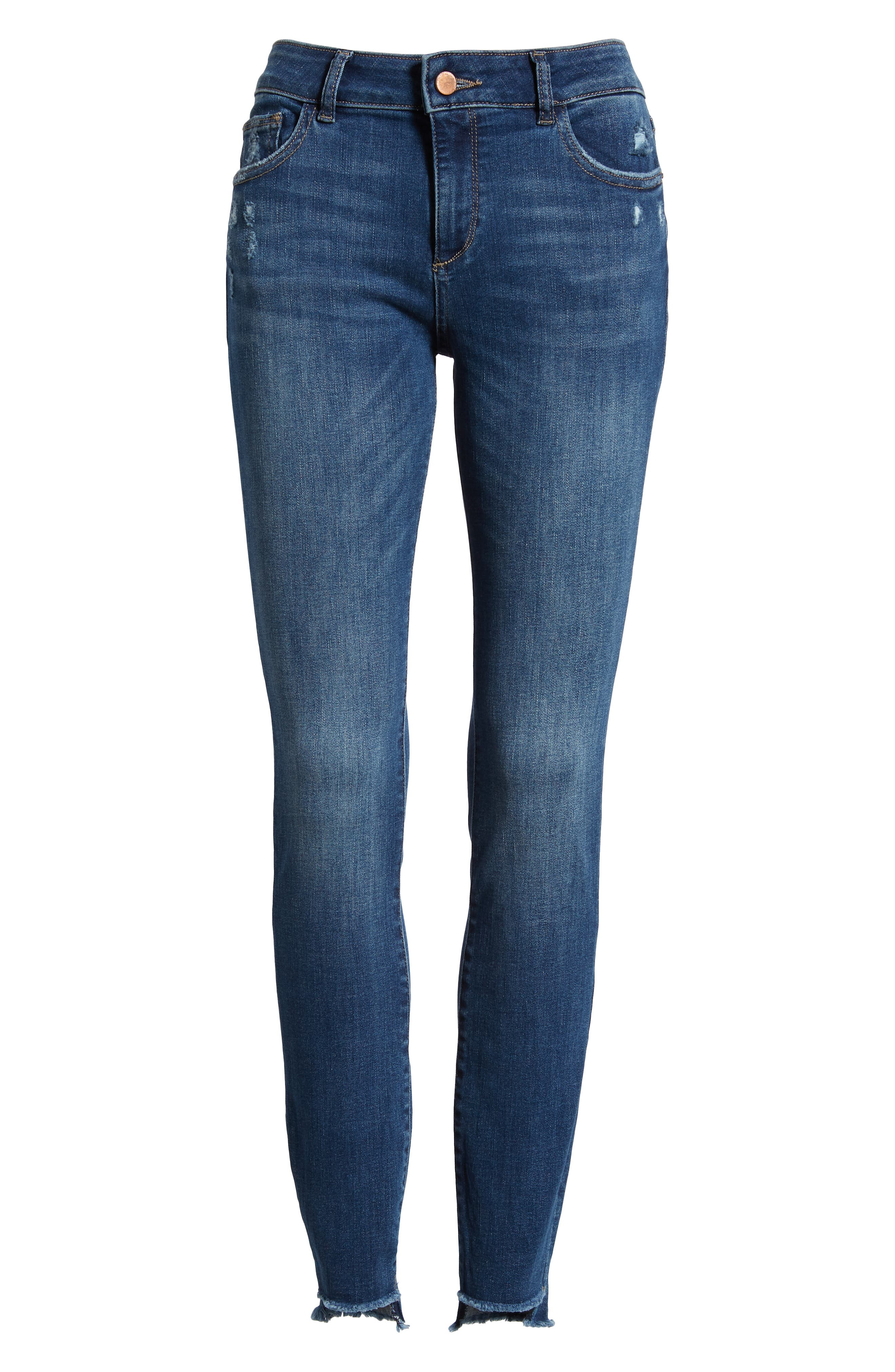 Florence Instasculpt High Waist Raw Step Hem Skinny Jeans,                             Alternate thumbnail 7, color,                             405