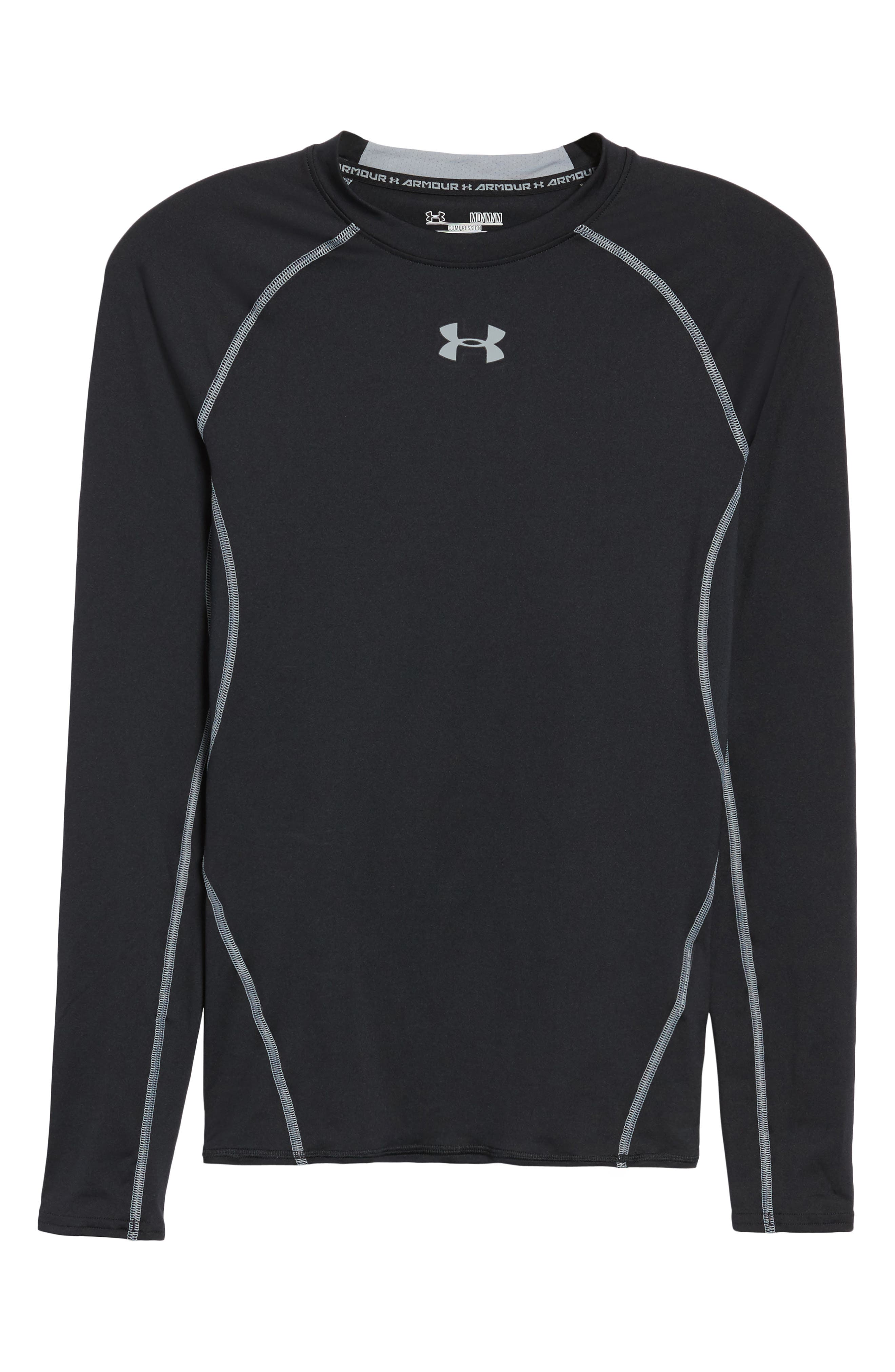 HeatGear<sup>®</sup> Compression Fit Long Sleeve T-Shirt,                             Alternate thumbnail 7, color,                             BLACK/ STEEL