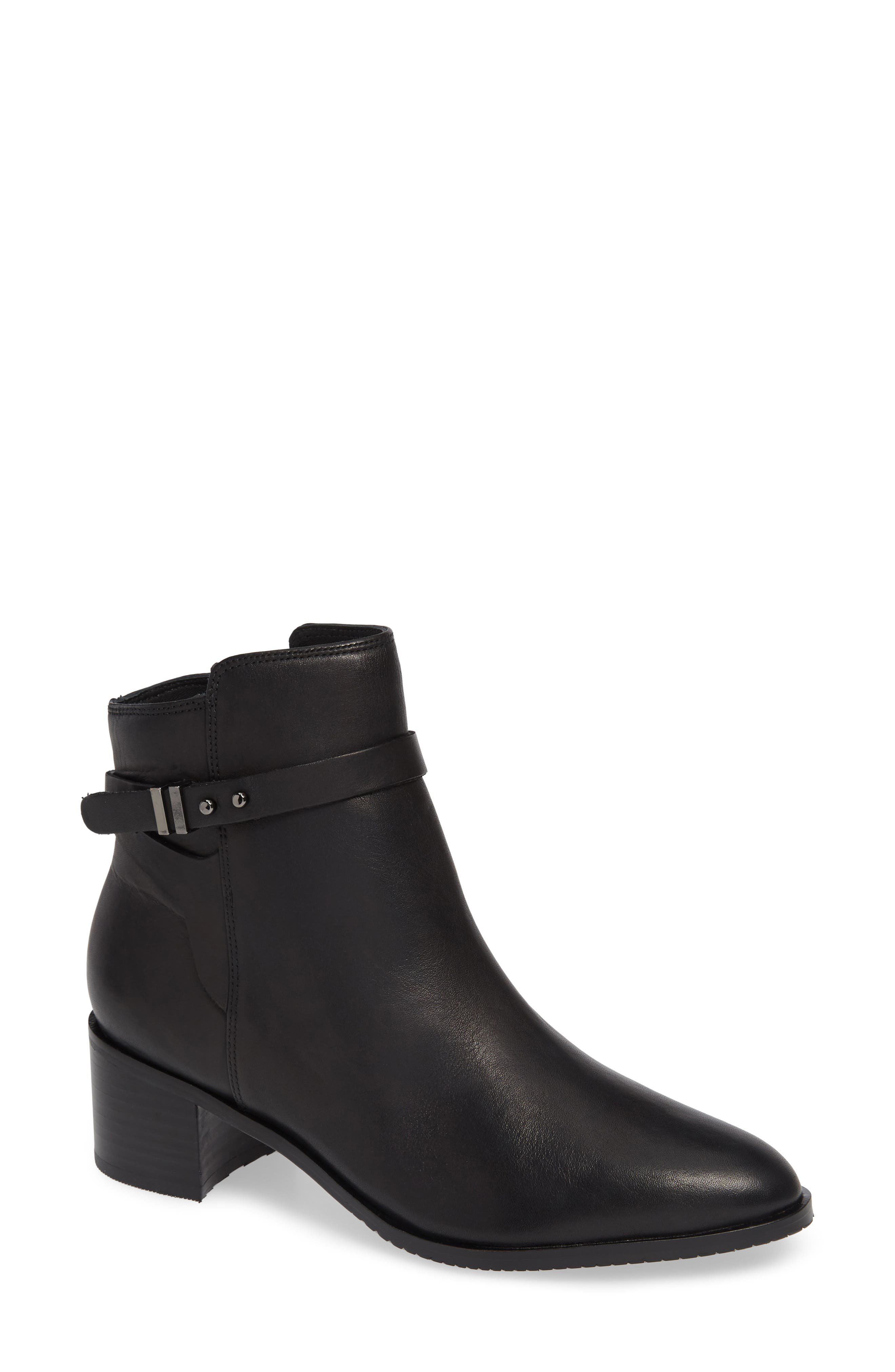 Poise Freya Bootie,                         Main,                         color, BLACK LEATHER