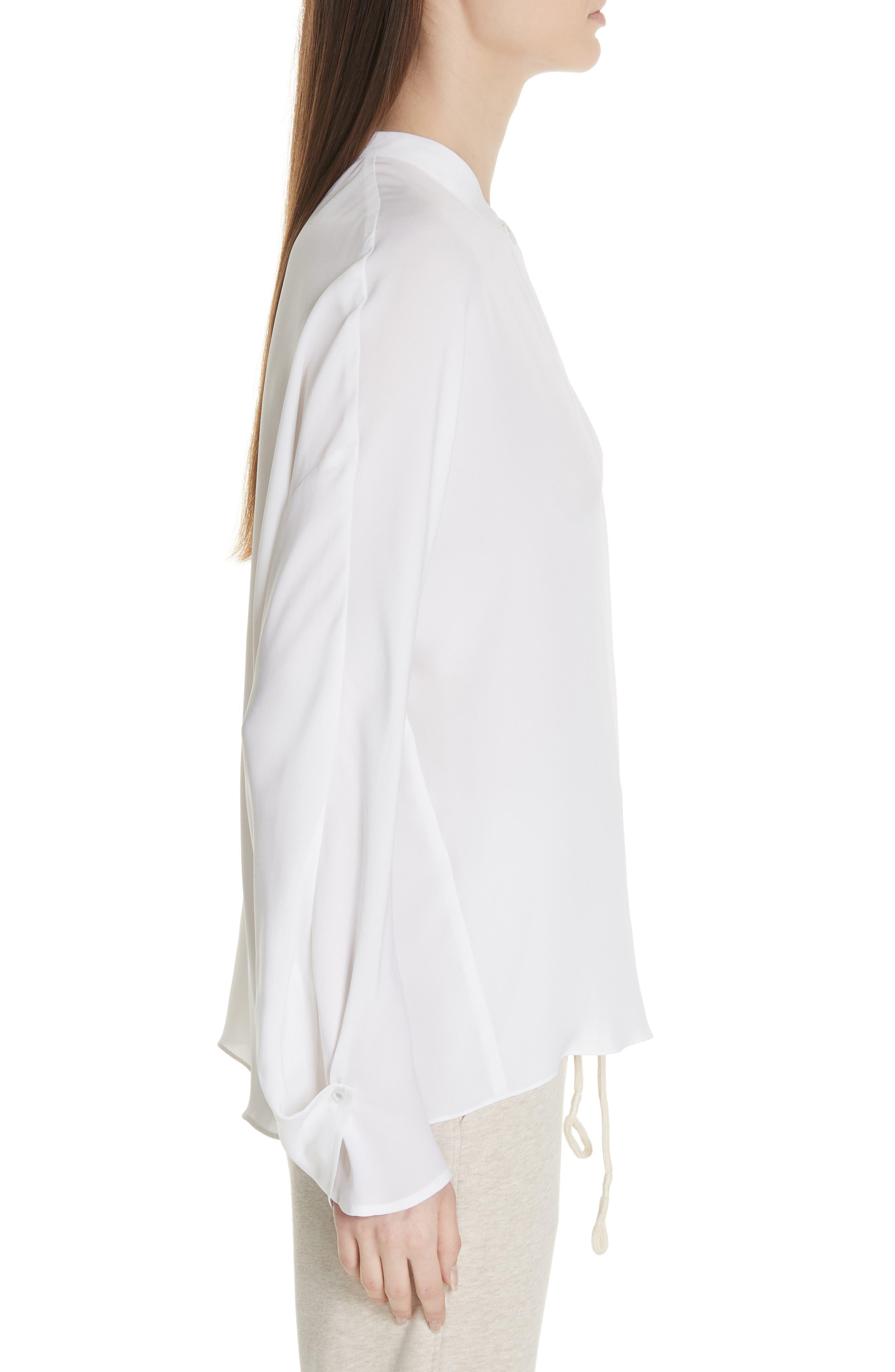 Envelope Sleeve Silk Blouse,                             Alternate thumbnail 3, color,                             OPTIC WHITE
