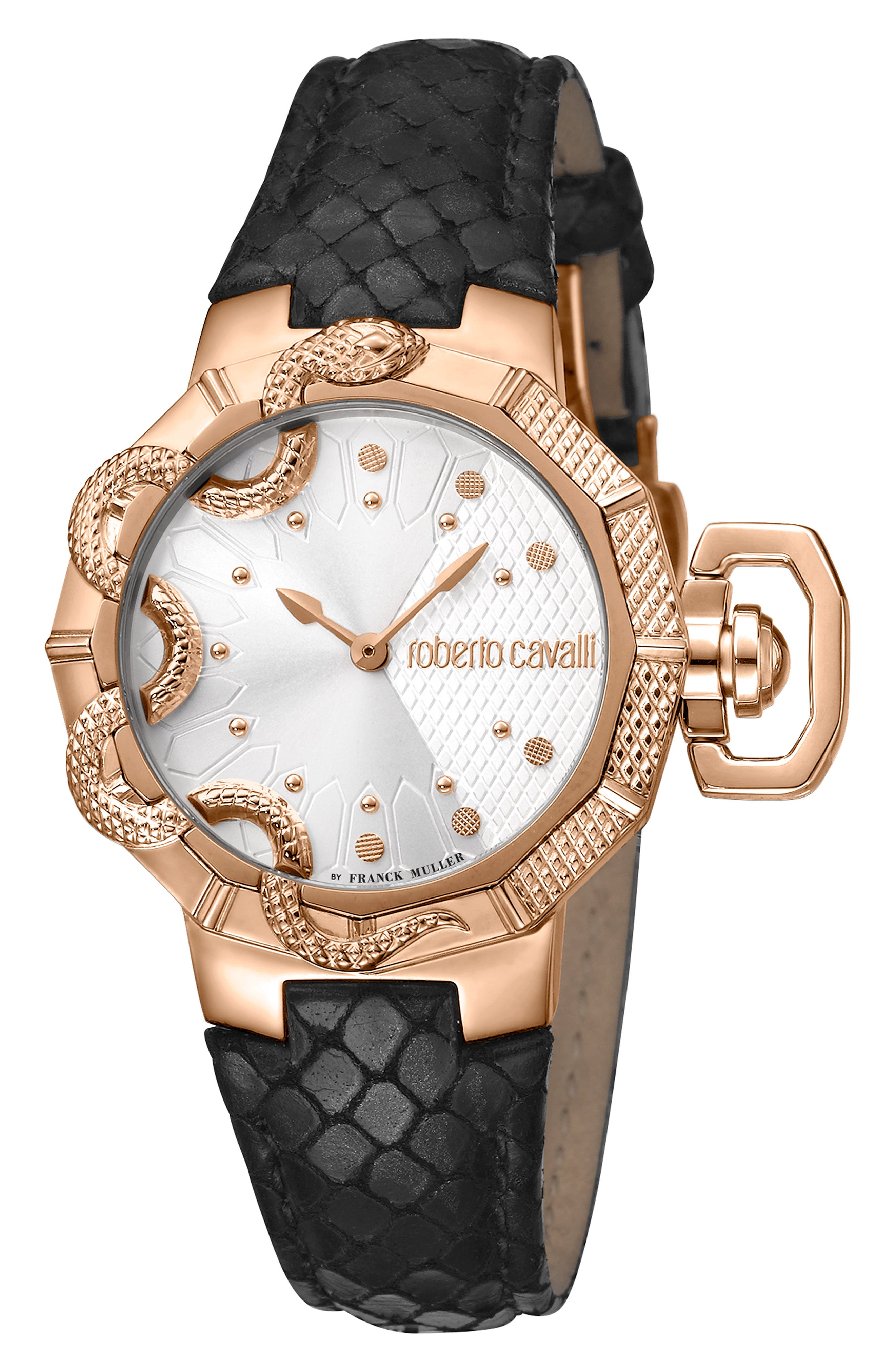 ROBERTO CAVALLI BY FRANCK MULLER Serpente Geometrico Leather Strap Watch, 34Mm in Black/ Silver / Rose Gold