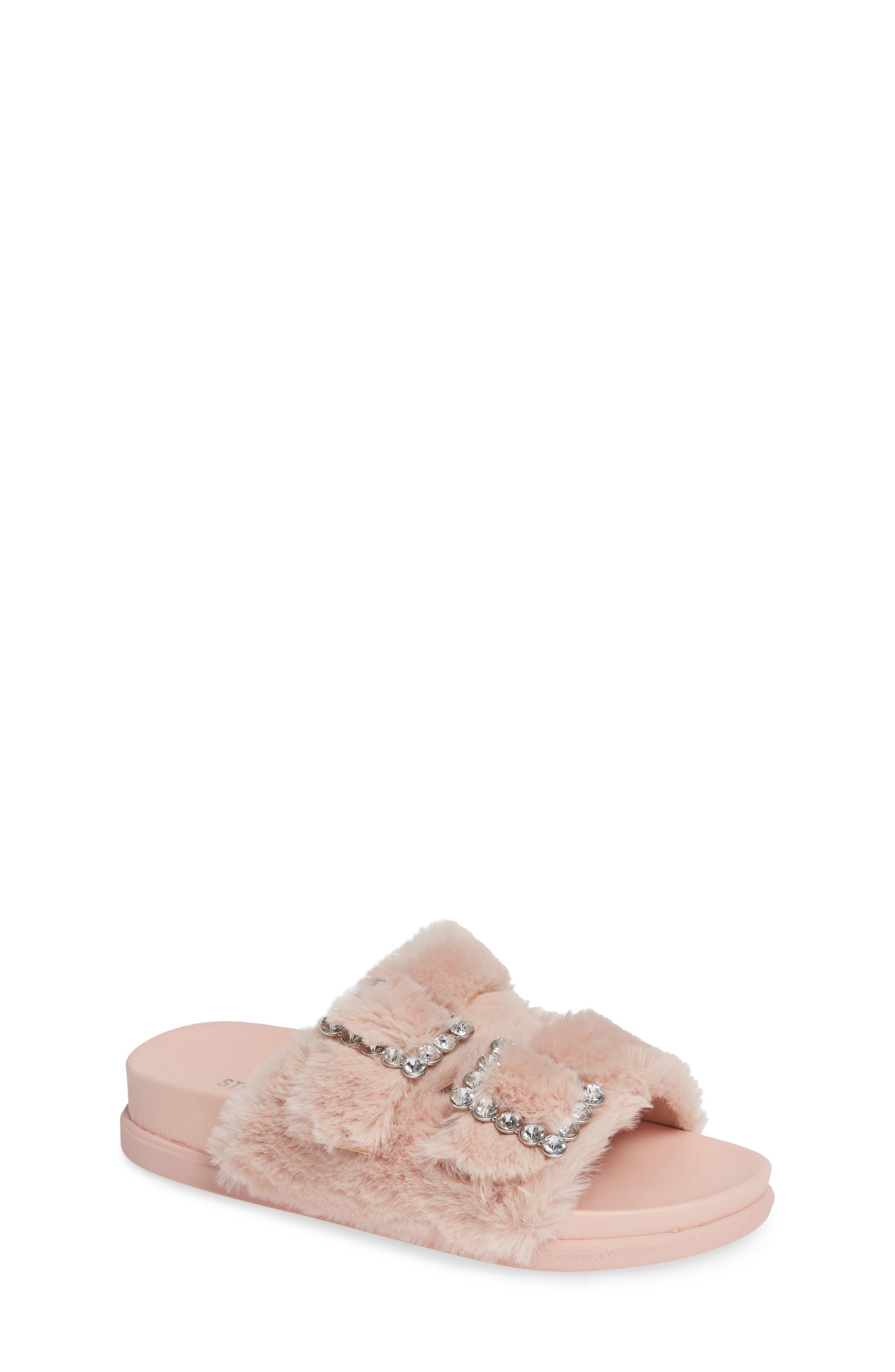 Faux Fur Slide Sandal, Main, color, 650