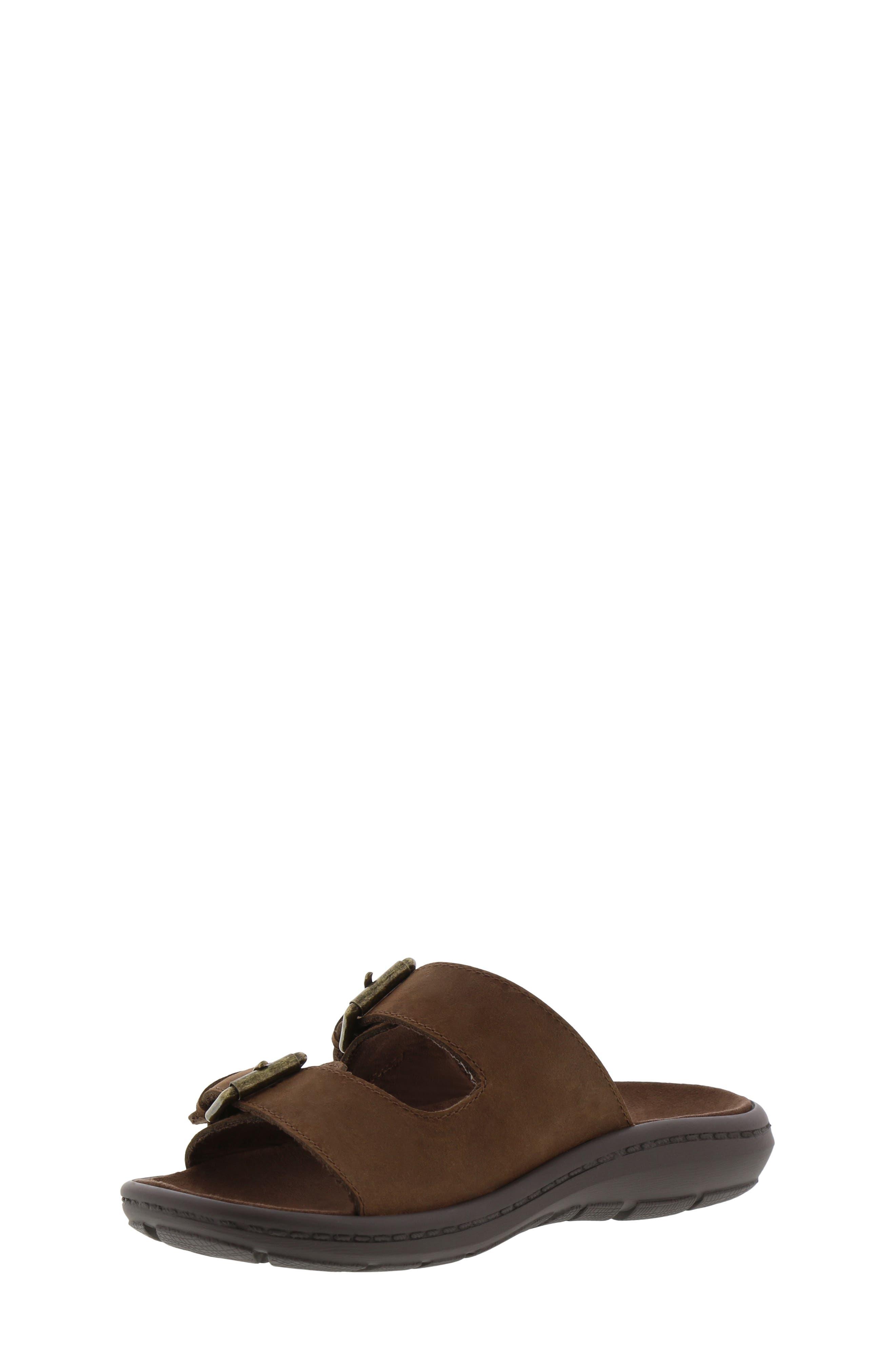 Leaf Leo Slide Sandal, Main, color, BROWN