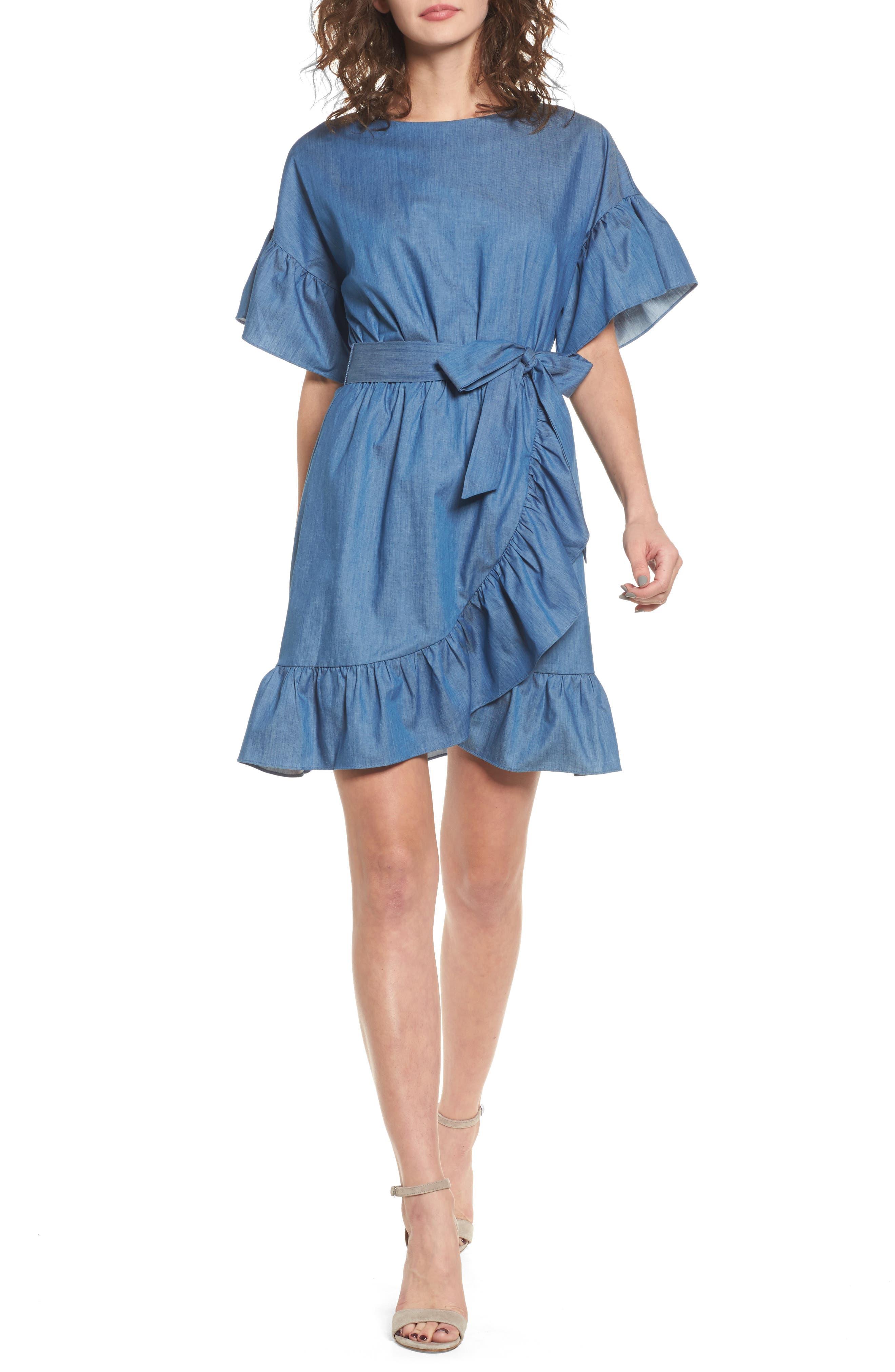 Ruffle Denim Wrap Dress,                             Main thumbnail 1, color,                             405