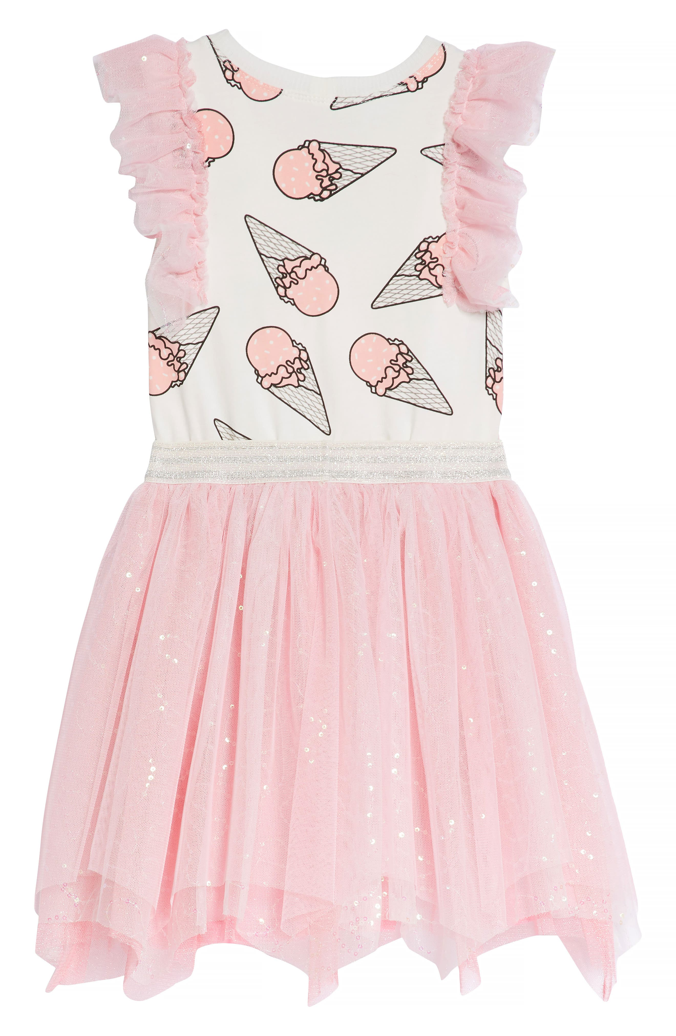 Ice Cream Print Dress,                             Alternate thumbnail 4, color,                             PINK MULTI