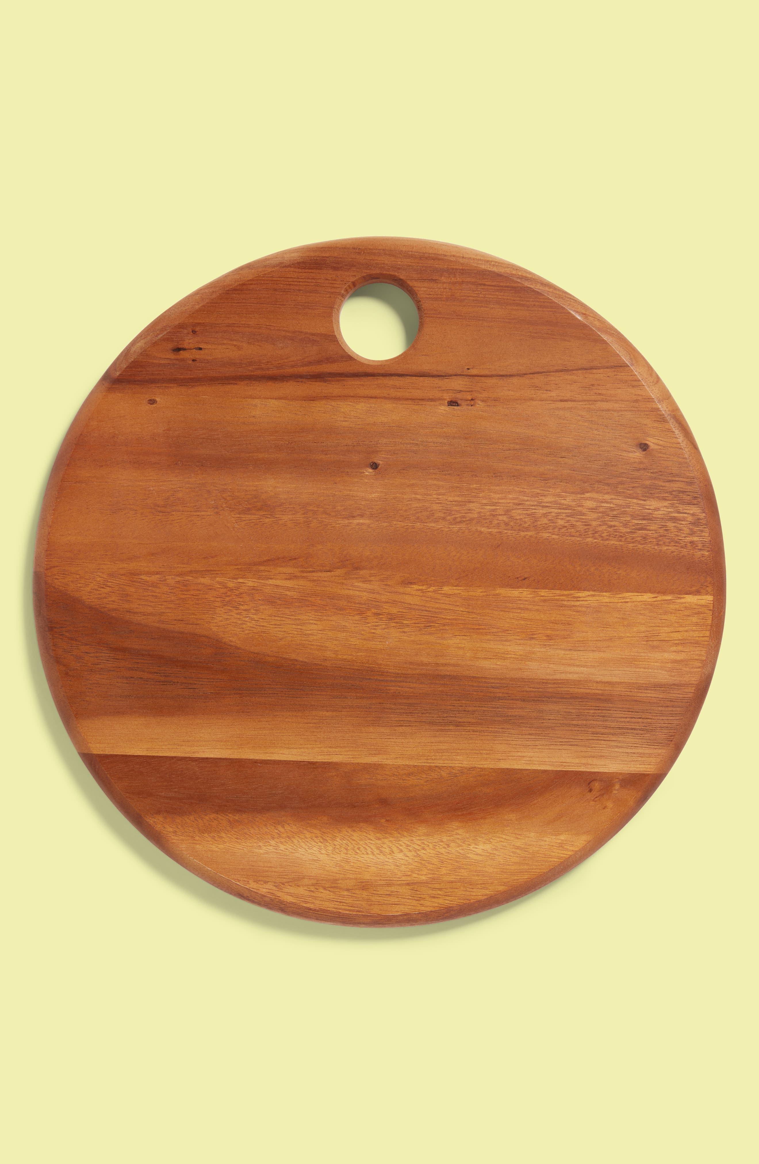 BE HOME Small Round Acacia Wood Cheese Board, Main, color, 200