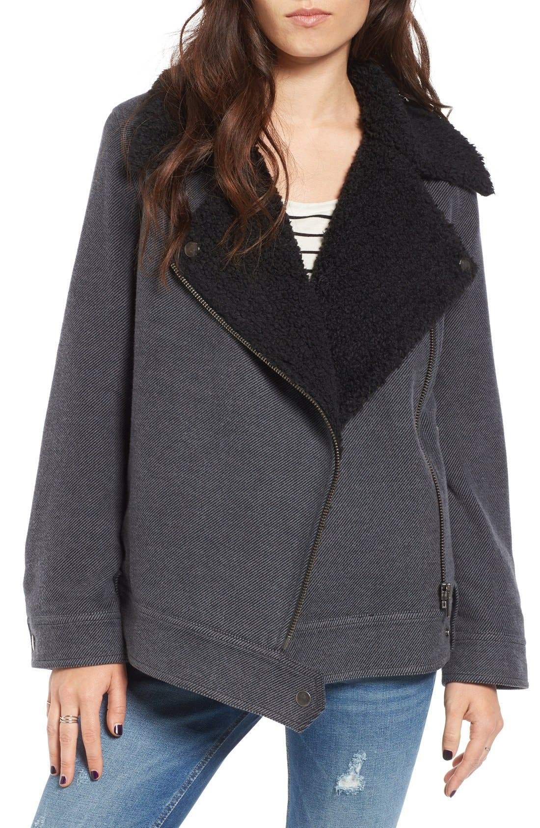 Oversized Faux Shearling Lined Moto Jacket, Main, color, 021