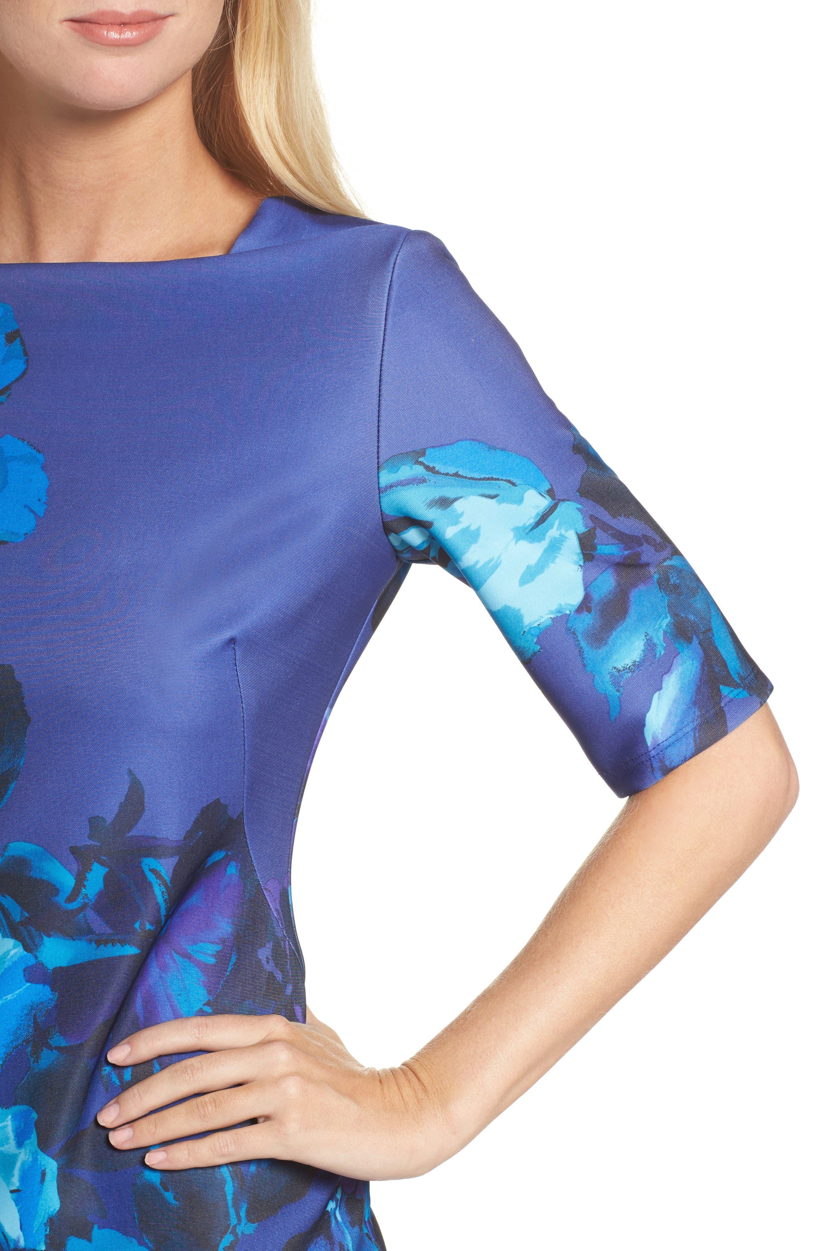 Floral Print Scuba Sheath Dress,                             Alternate thumbnail 4, color,                             453