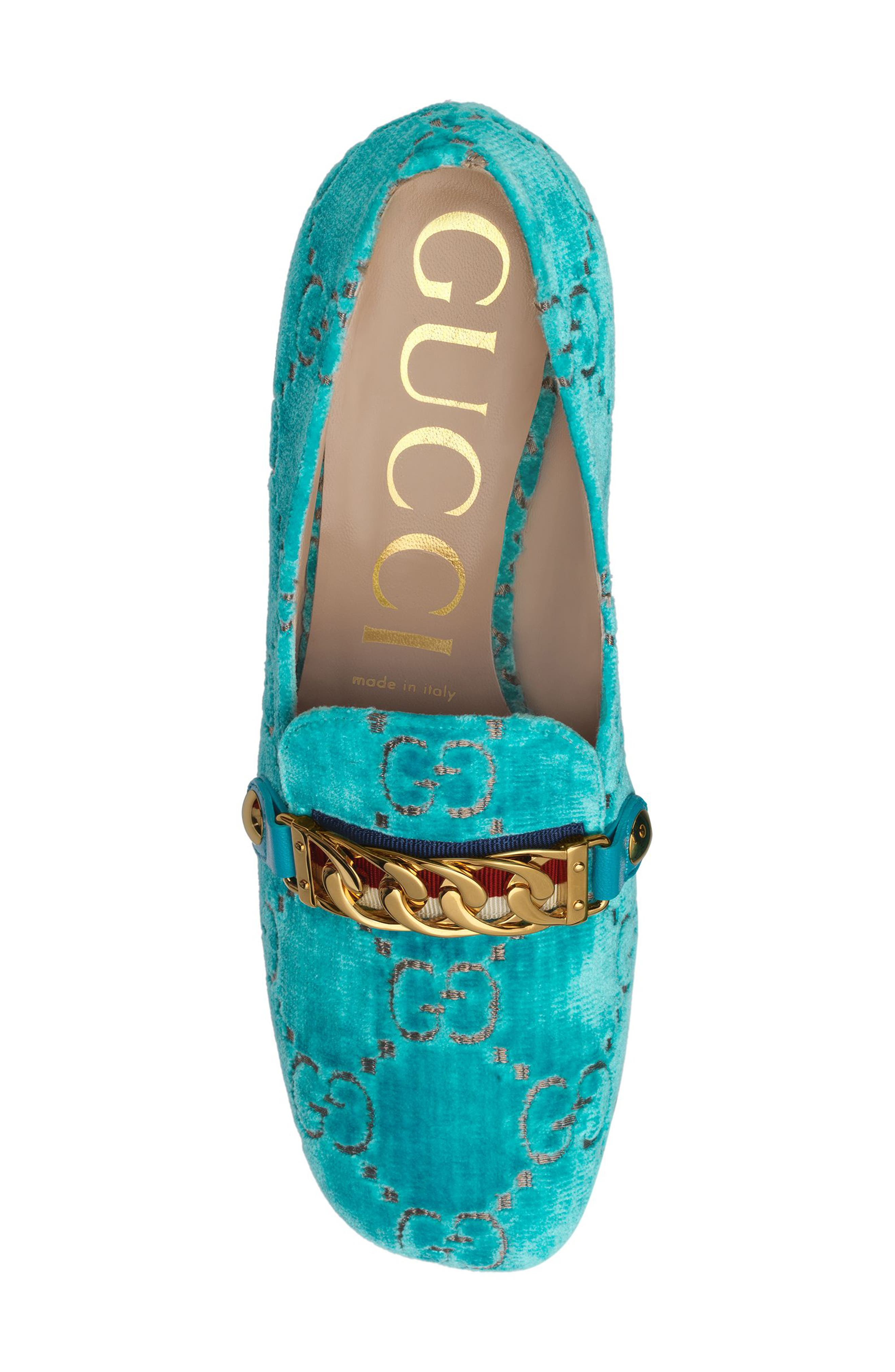 GUCCI,                             Sylvie Loafer Pump,                             Alternate thumbnail 5, color,                             TURQUOISE