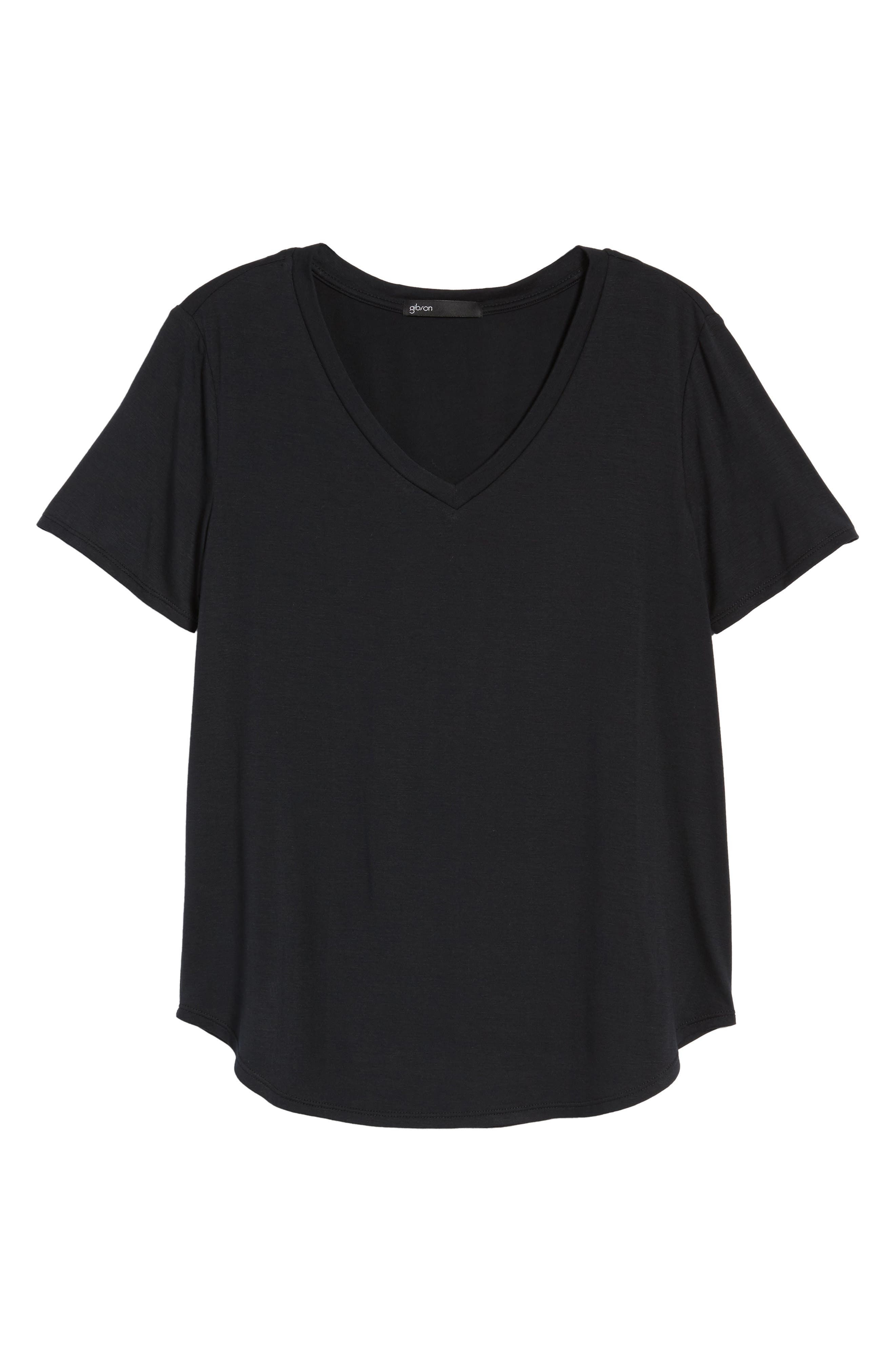 x Living in Yellow Felicity V-Neck Tee,                             Alternate thumbnail 7, color,                             001
