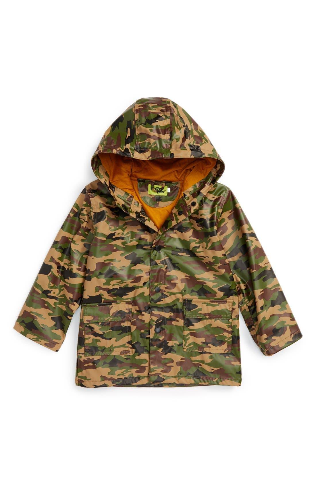 Camo Print Hooded Raincoat,                             Main thumbnail 1, color,                             362
