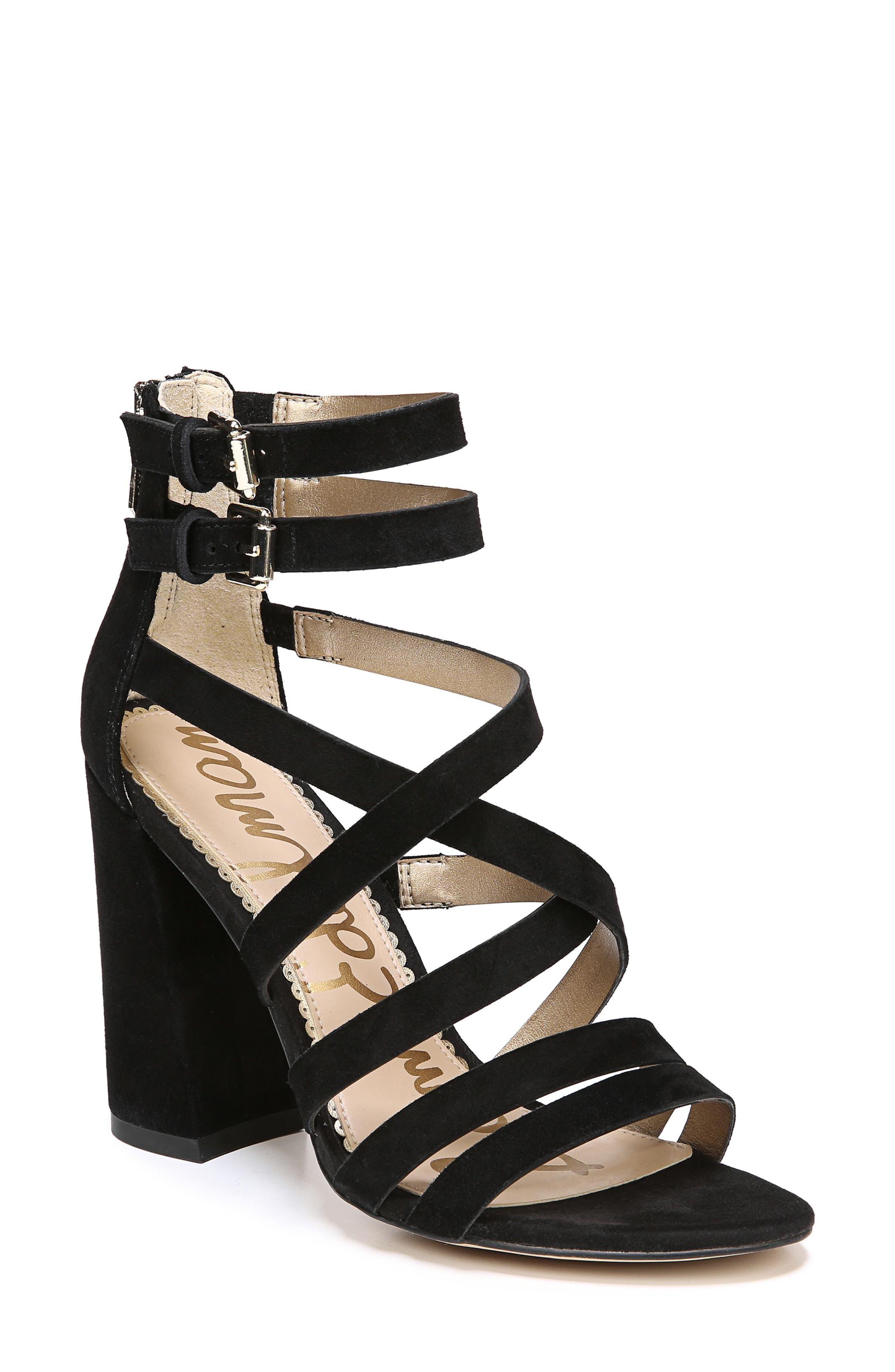 Yema Block Heel Sandal,                             Main thumbnail 1, color,                             BLACK SUEDE