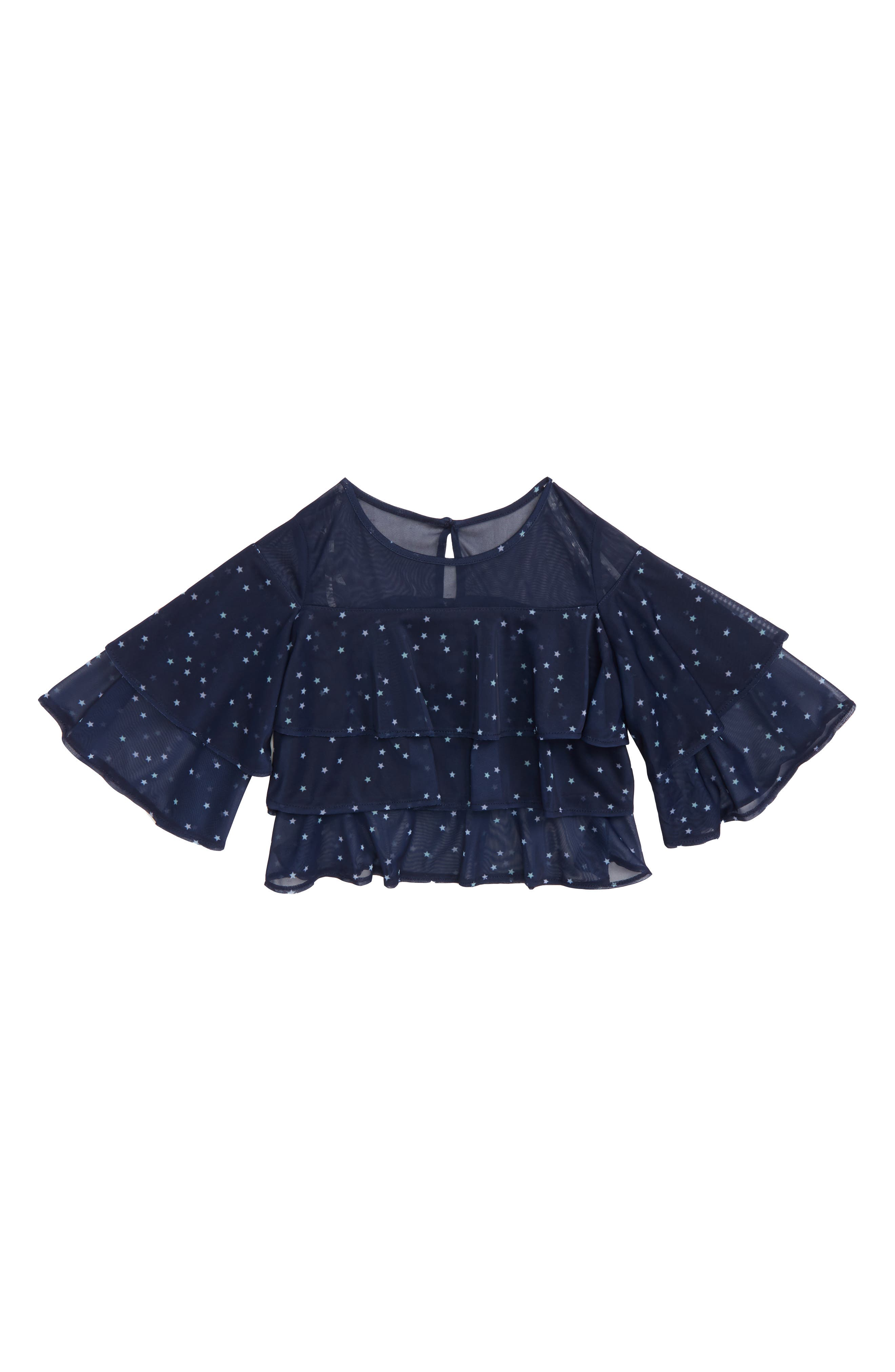 Star Print Tiered Ruffle Top,                         Main,                         color, 410