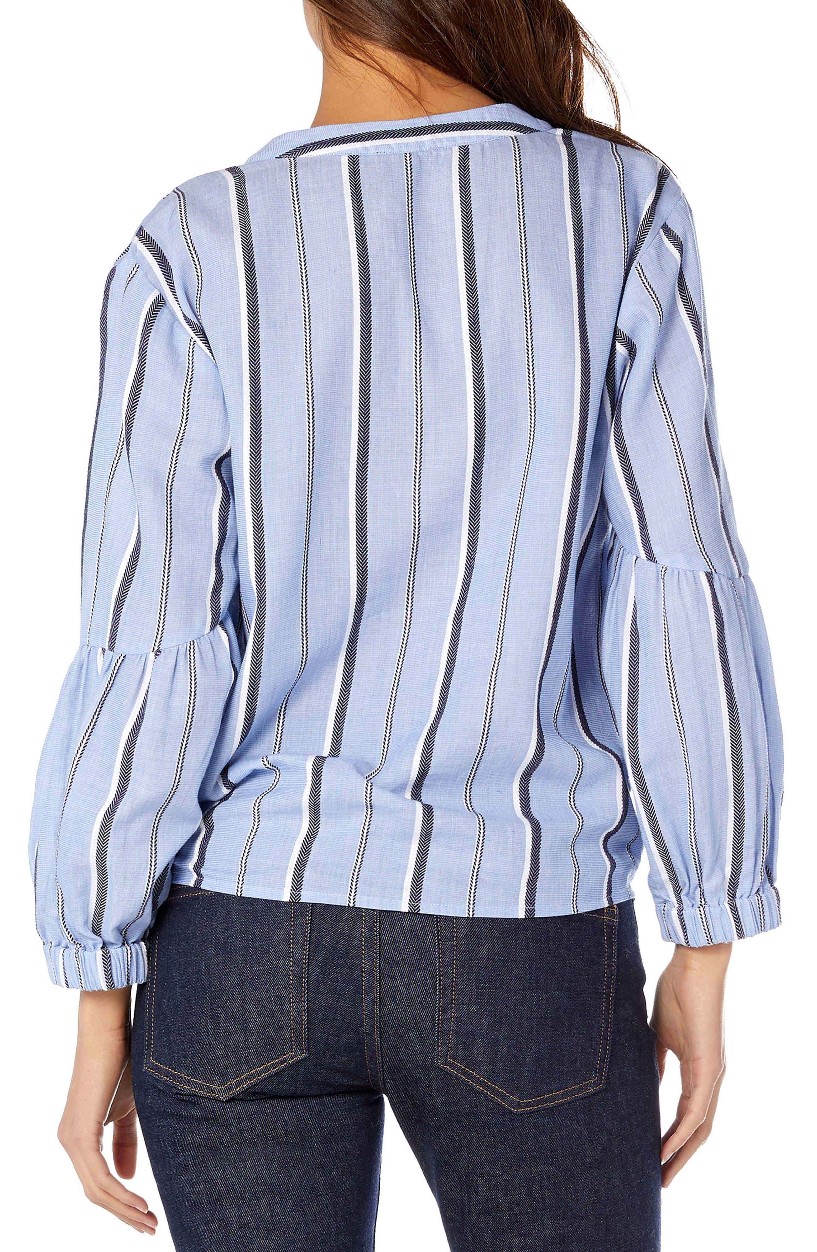 Stripe Shirting Tie Front Cotton Blouse,                             Alternate thumbnail 2, color,                             STREAM