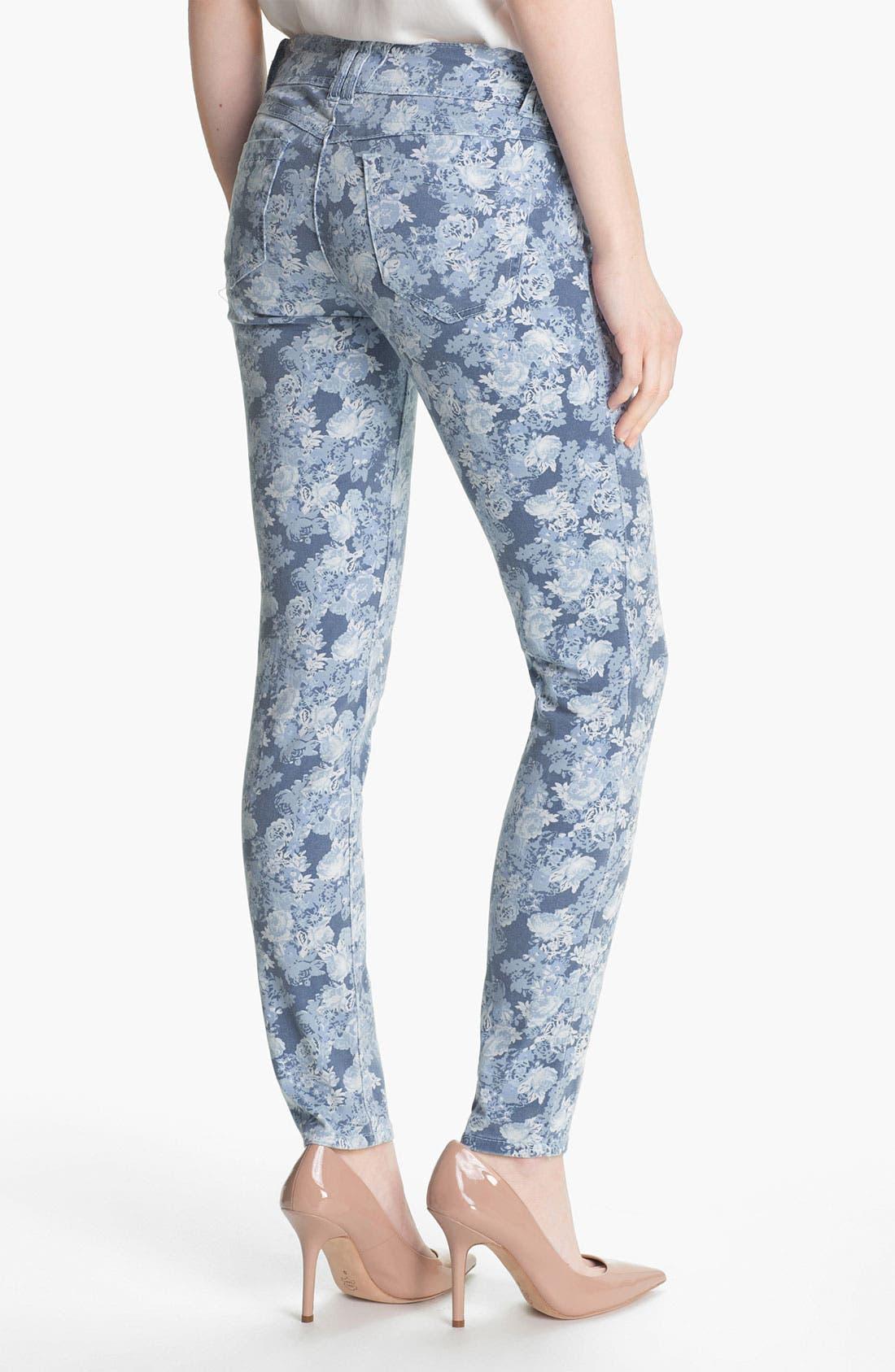 Floral Print Skinny Jeans,                             Alternate thumbnail 4, color,