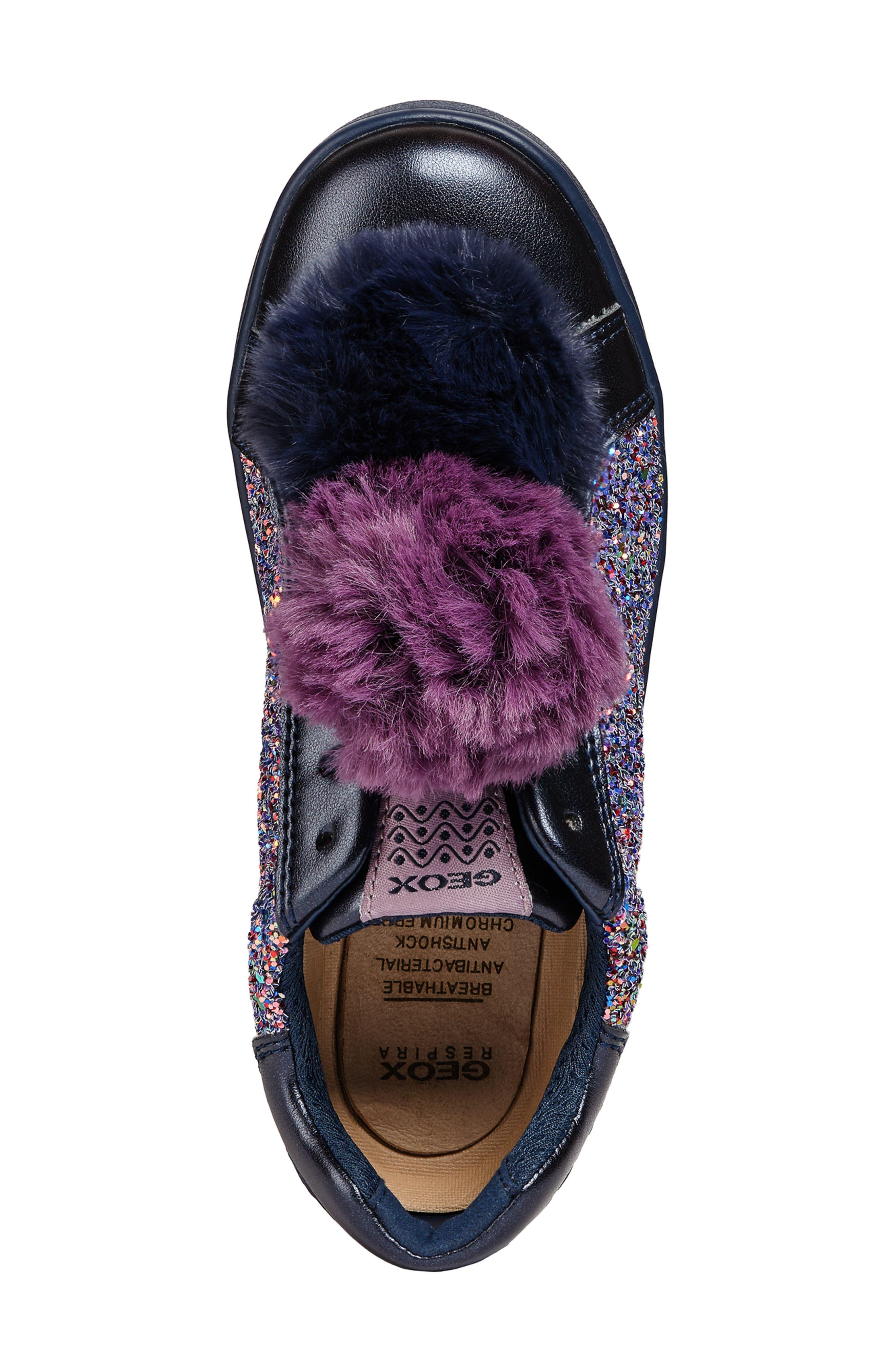 DJ Rock Glitter Pompom Sneaker,                             Alternate thumbnail 4, color,                             NAVY/LT PRUNE