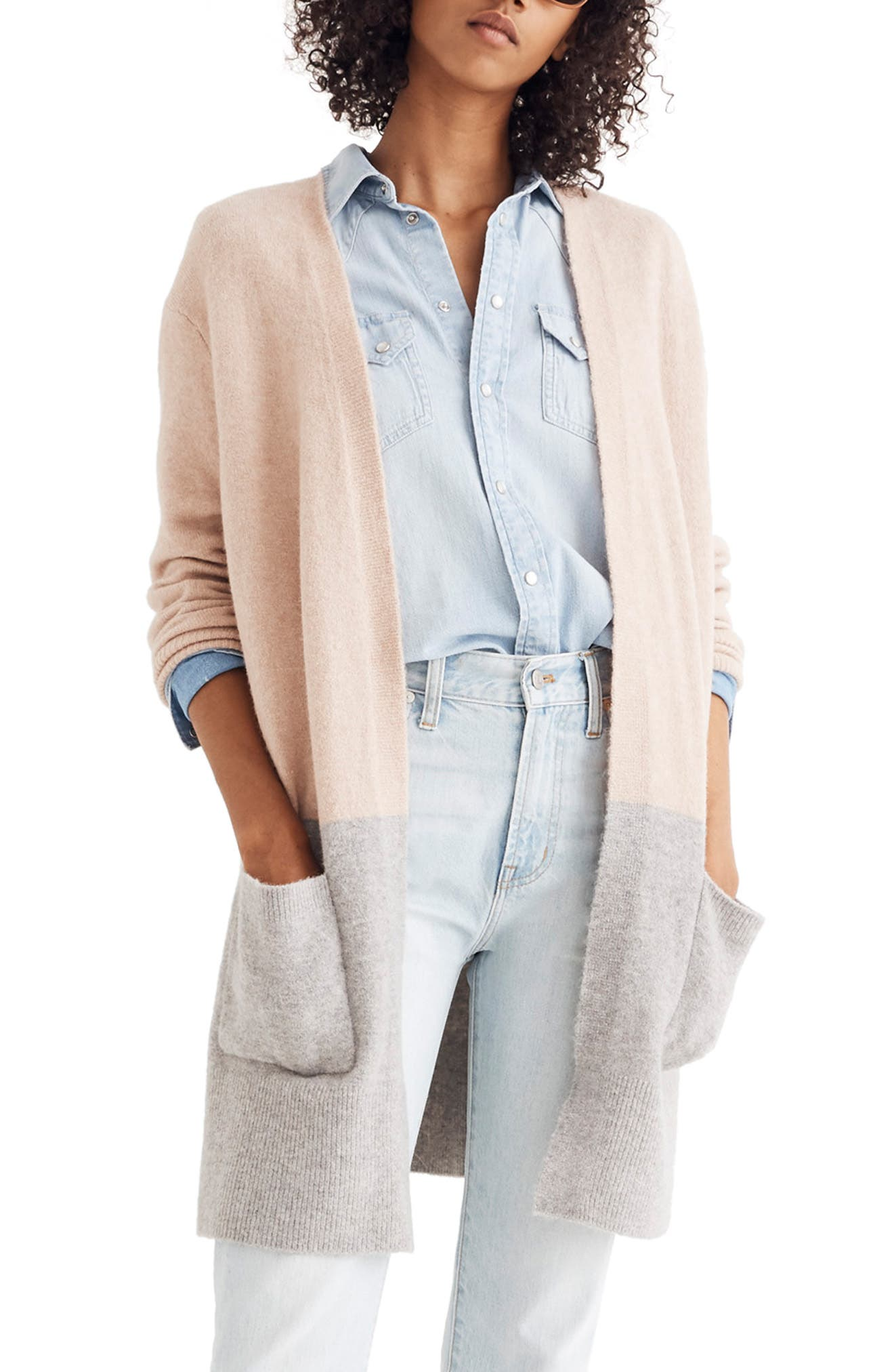 Kent Colorblock Cardigan Sweater,                         Main,                         color, HEATHER BEIGE