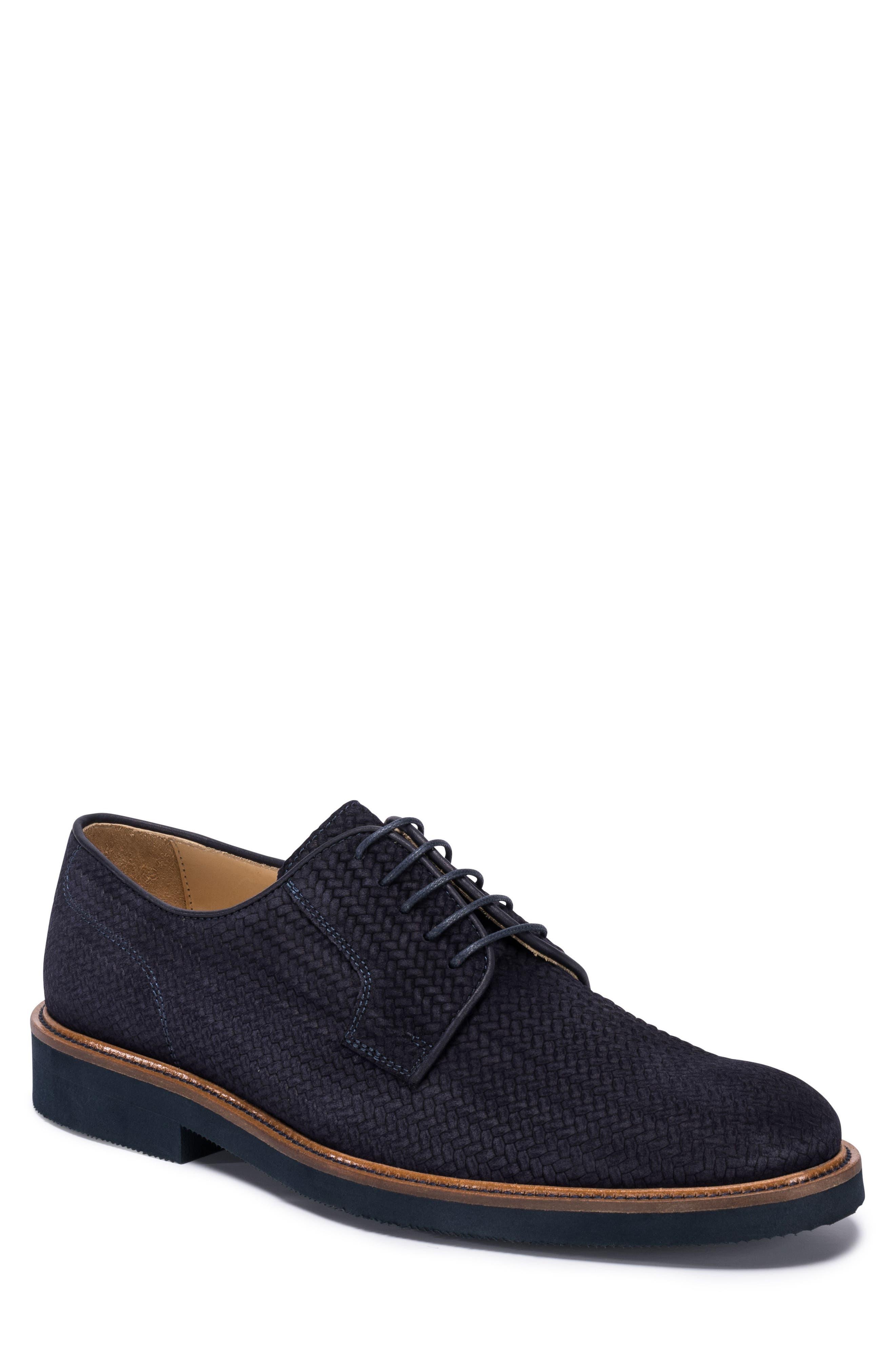 Woven Plain Toe Derby,                             Main thumbnail 1, color,                             BLUE SUEDE