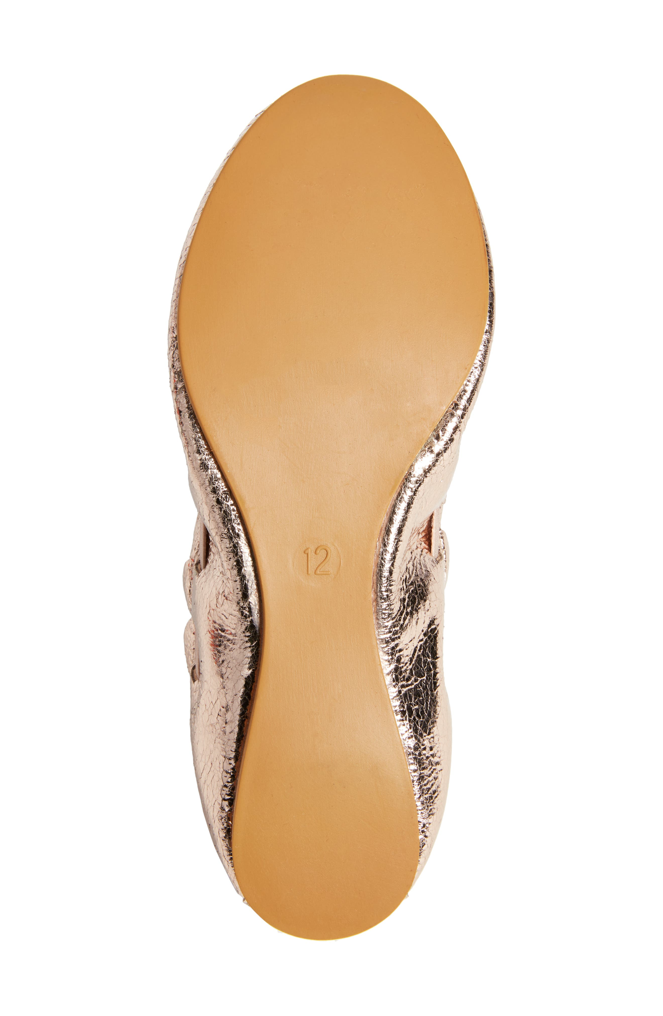 Scalloped Ballet Flat,                             Alternate thumbnail 6, color,                             ROSE GOLD CRACKLE FAUX LEATHER