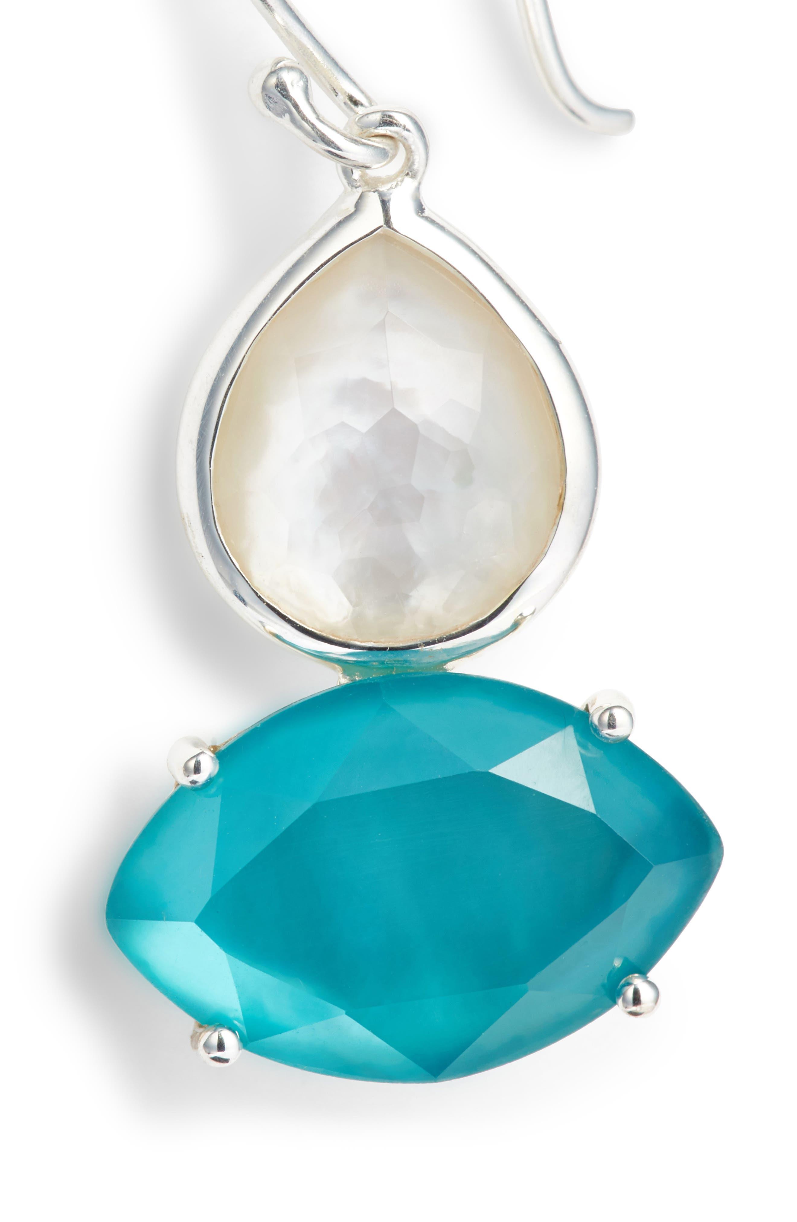 Wonderland 2-Stone Drop Earrings,                             Alternate thumbnail 5, color,                             BLUE/ MOP
