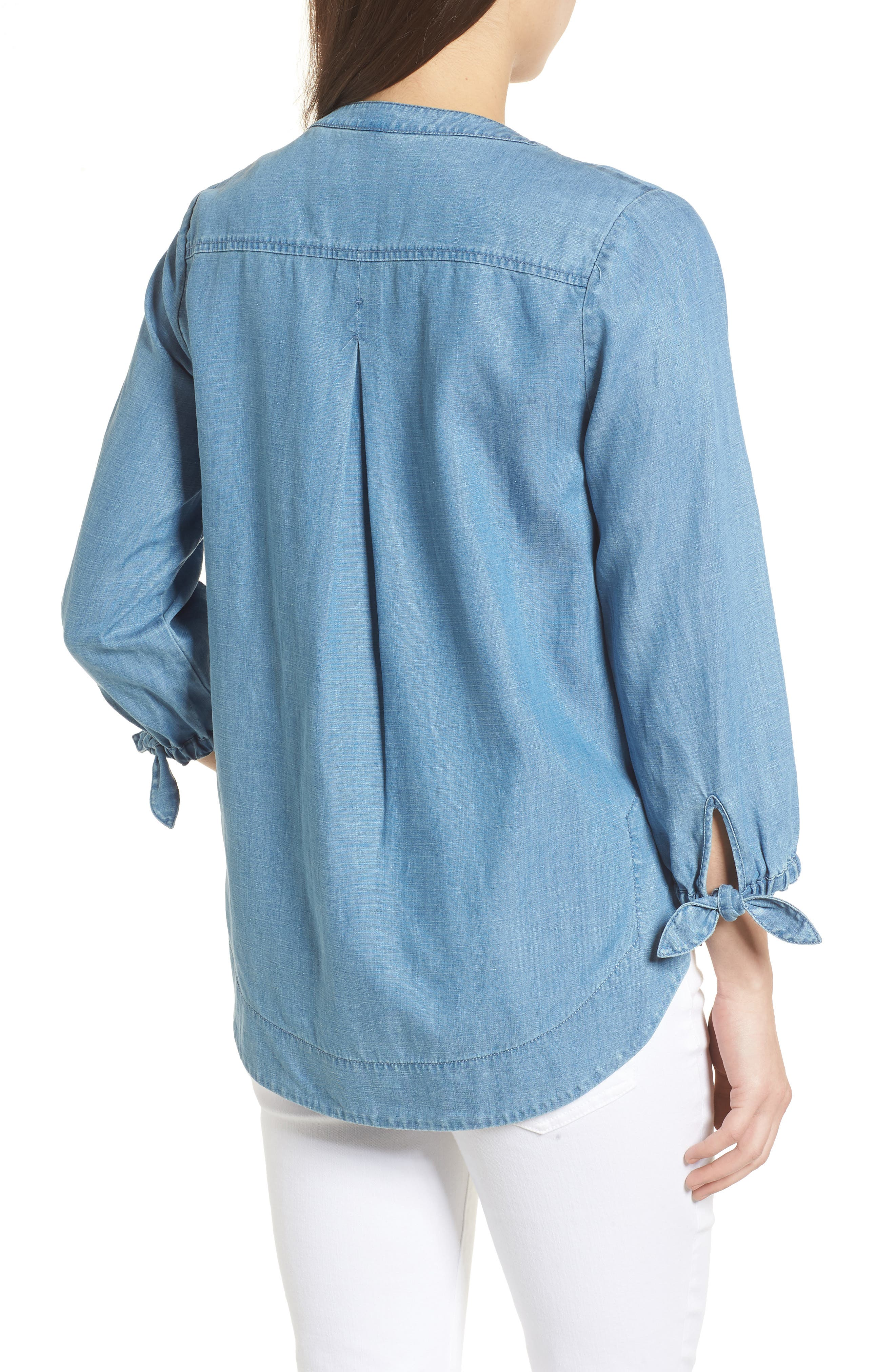 Chambray Tie Sleeve Popover Top,                             Alternate thumbnail 2, color,