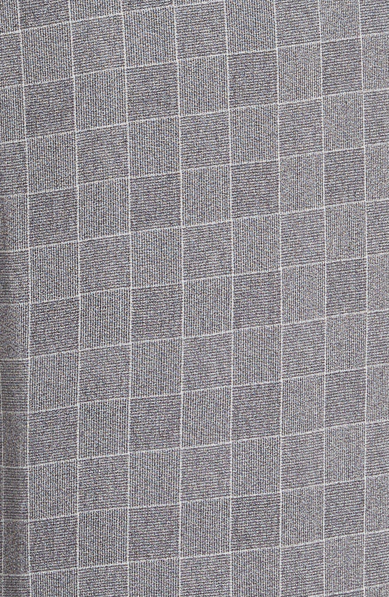 Side Stripe Check Silk Pants,                             Alternate thumbnail 5, color,                             CHROME/ CERISE
