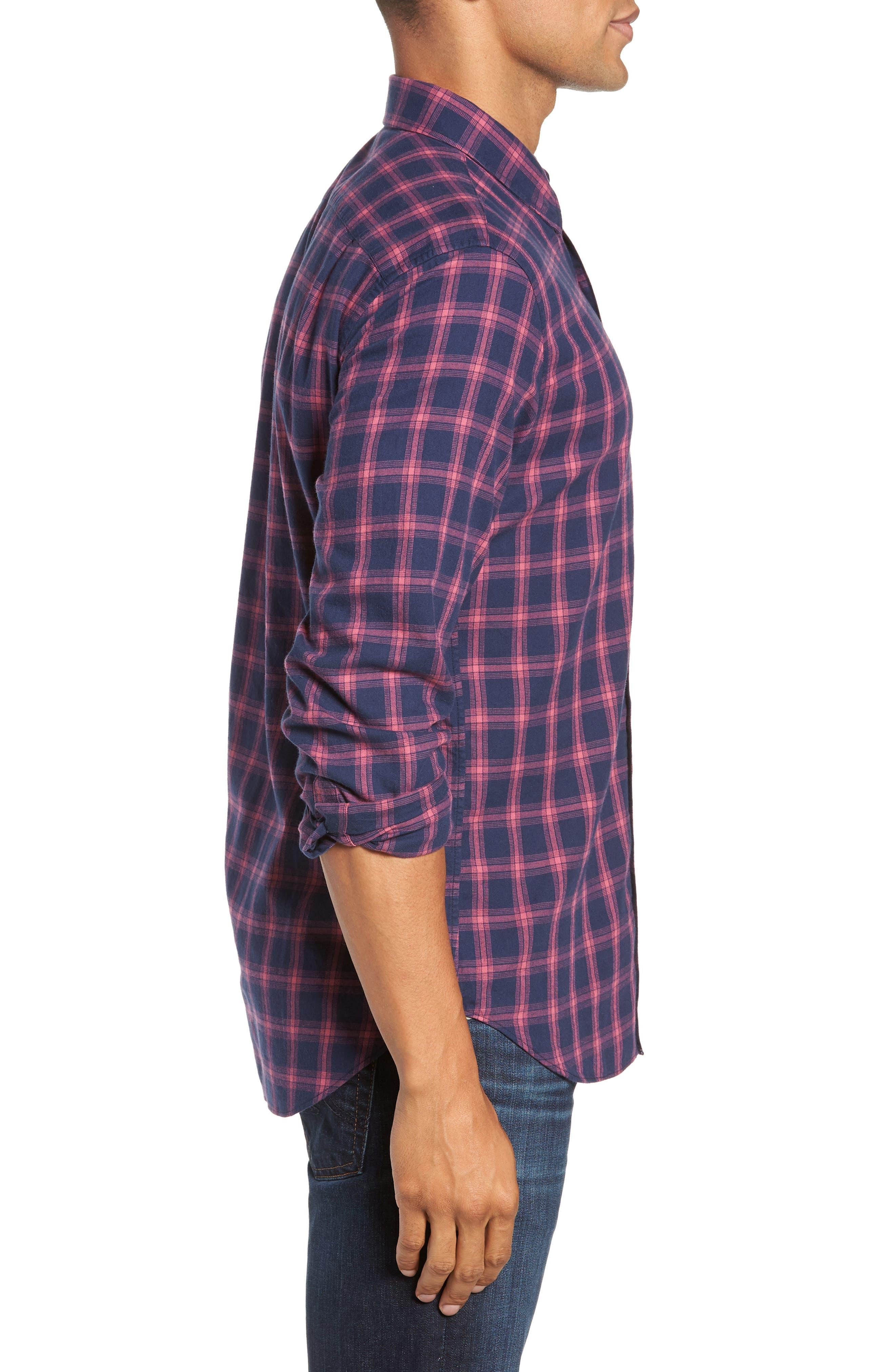 Slim Fit Brushed Twill Sport Shirt,                             Alternate thumbnail 4, color,                             ELLIS CHECK - MALAGA