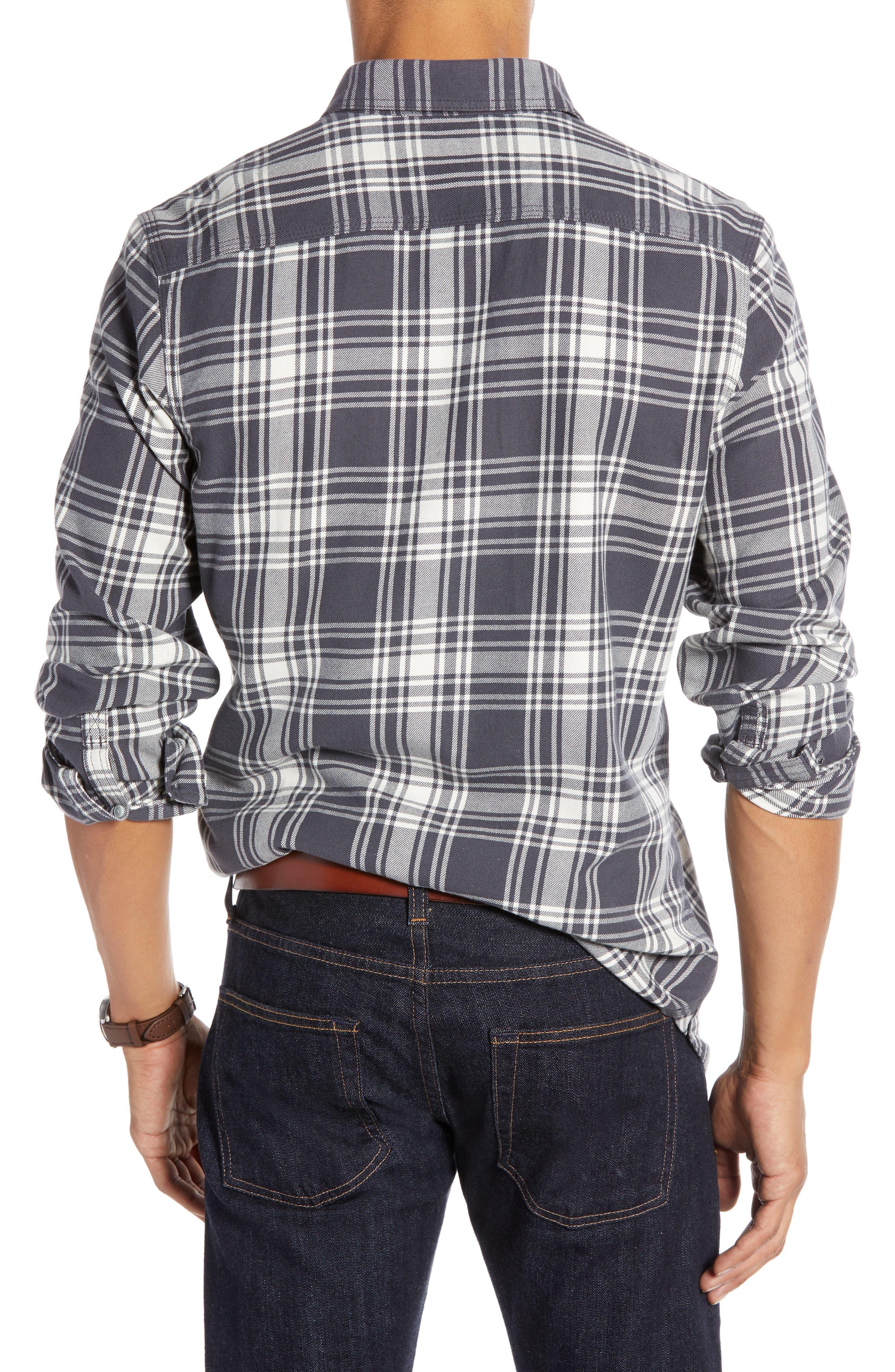 Plaid Utility Long Sleeve Trim Fit Sport Shirt,                             Alternate thumbnail 2, color,                             GREY CASTLEROCK PLAID