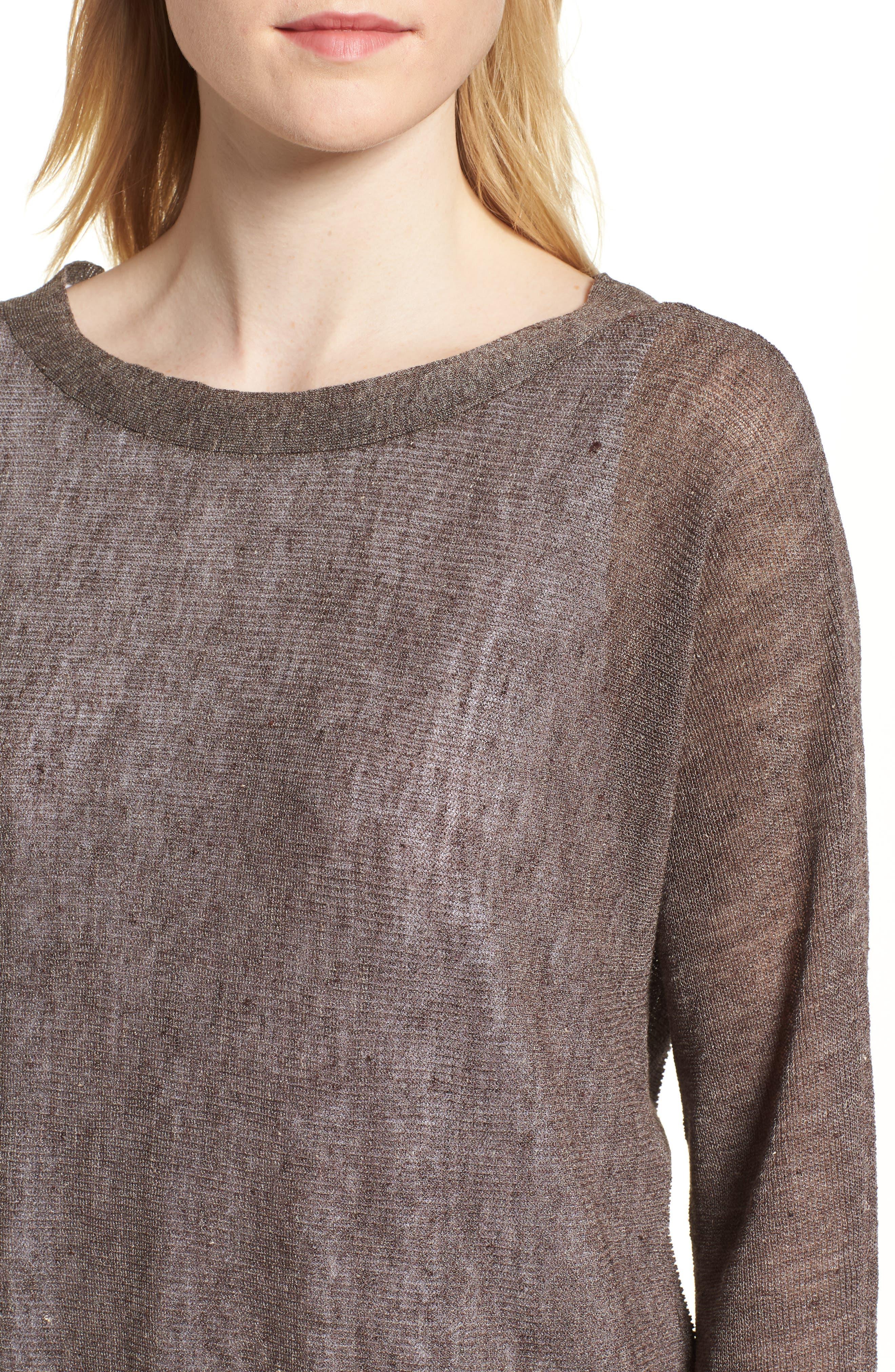 Linen Blend Sweater,                             Alternate thumbnail 4, color,                             024