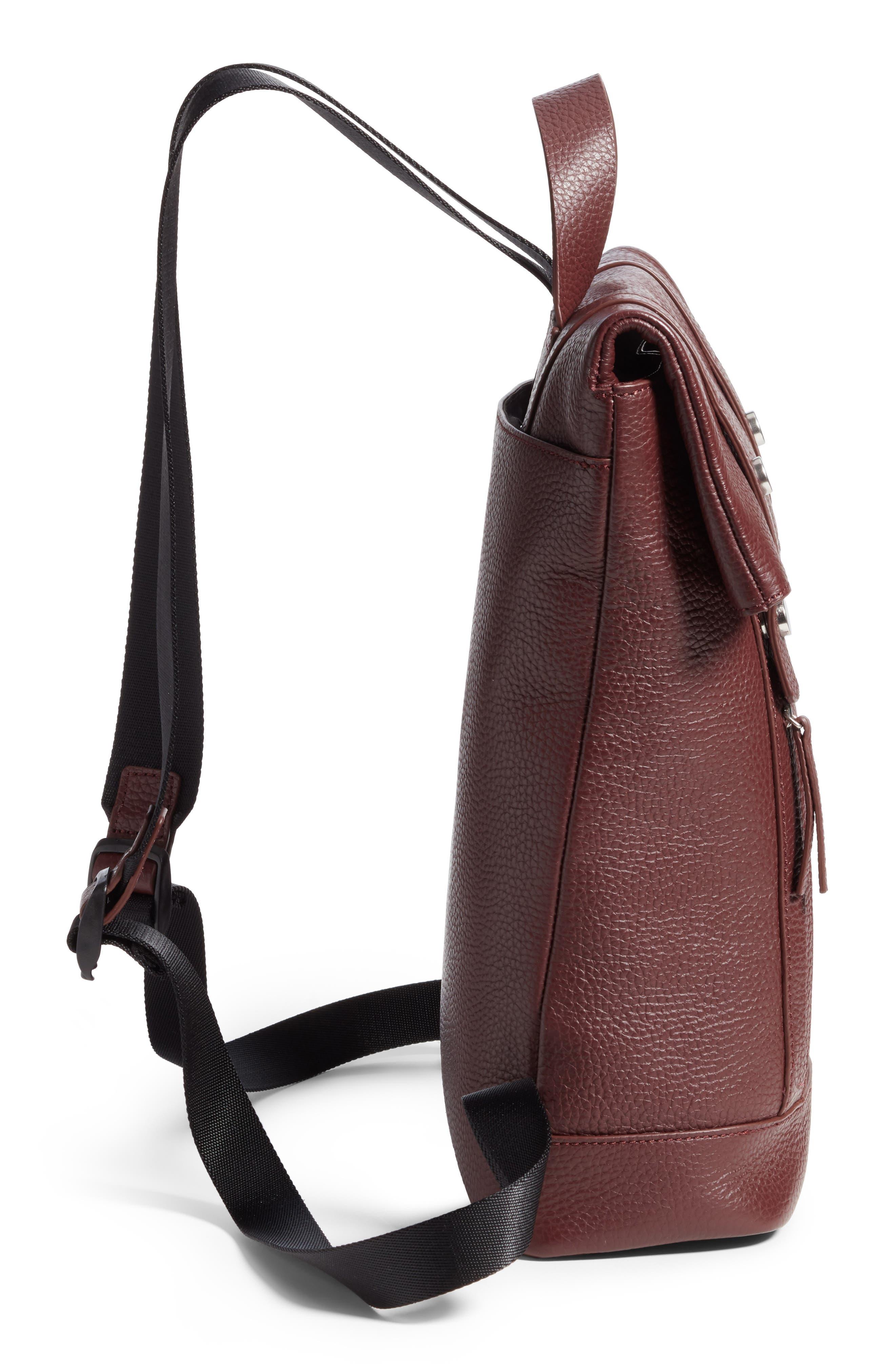 Remy Pebbled Leather Backpack,                             Alternate thumbnail 5, color,                             BURGUNDY FIG