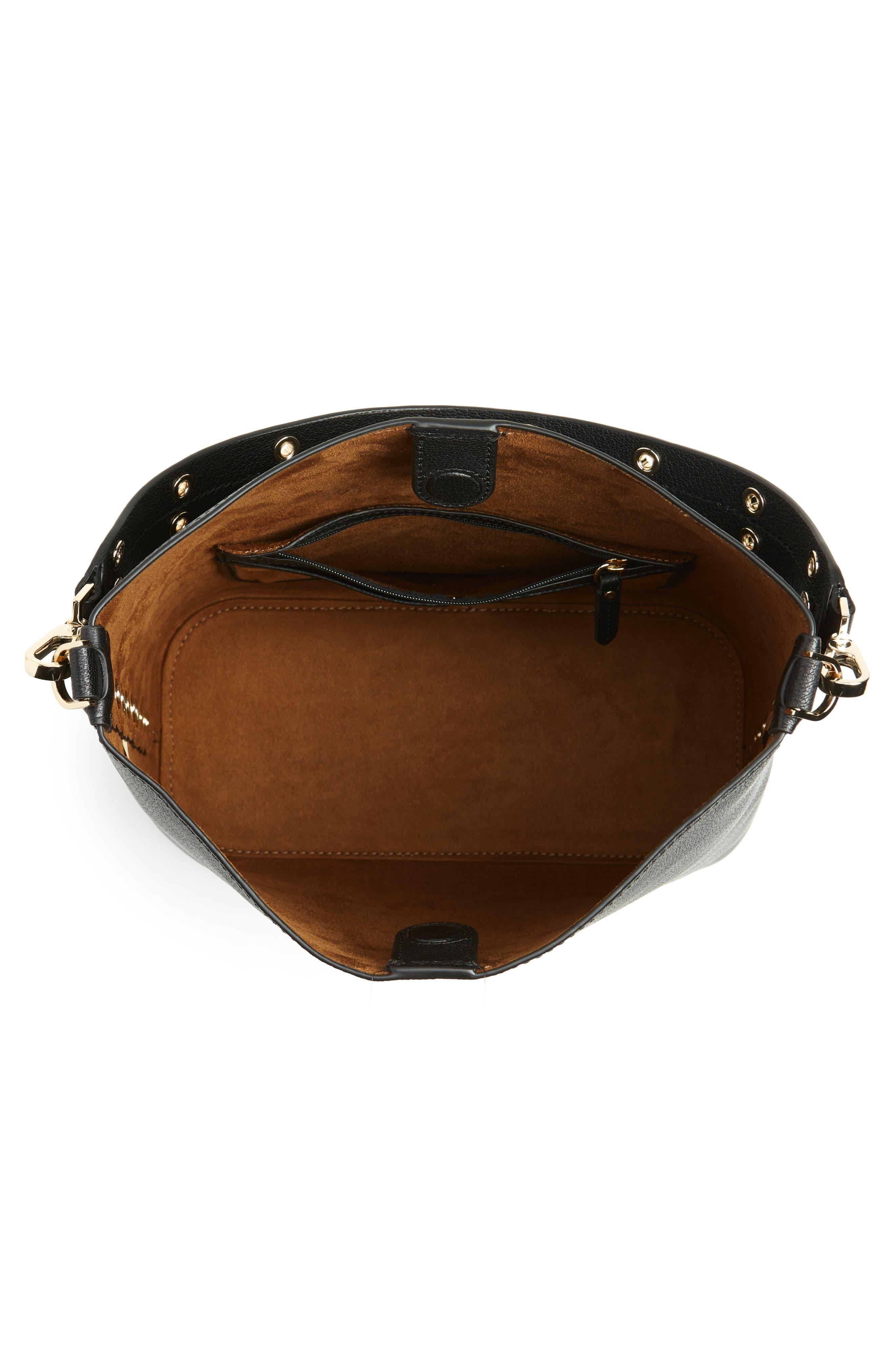 atlantic avenue libby grommet leather tote,                             Alternate thumbnail 4, color,                             BLACK