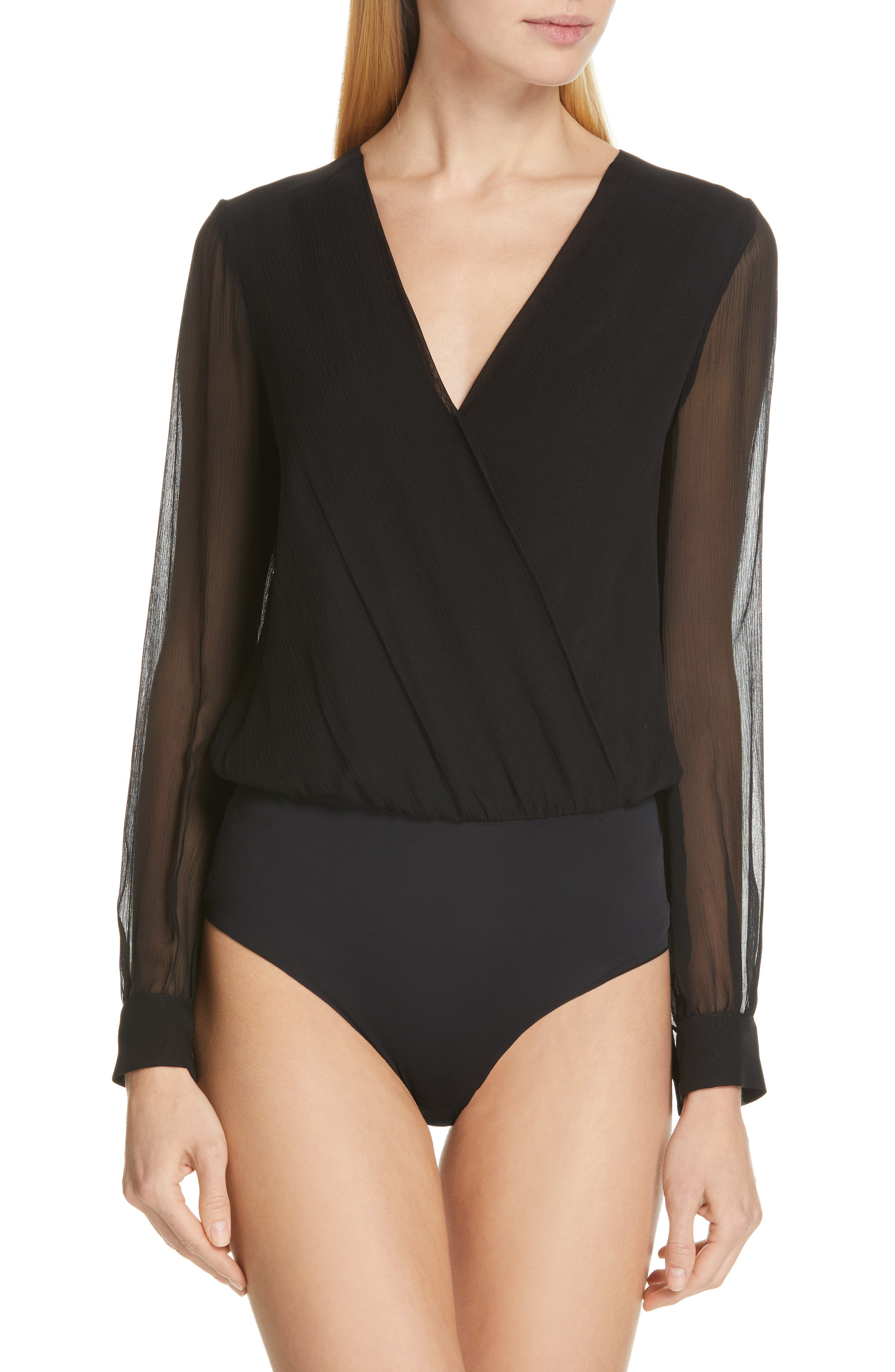 Tasha Silk Bodysuit,                             Alternate thumbnail 2, color,                             BLACK