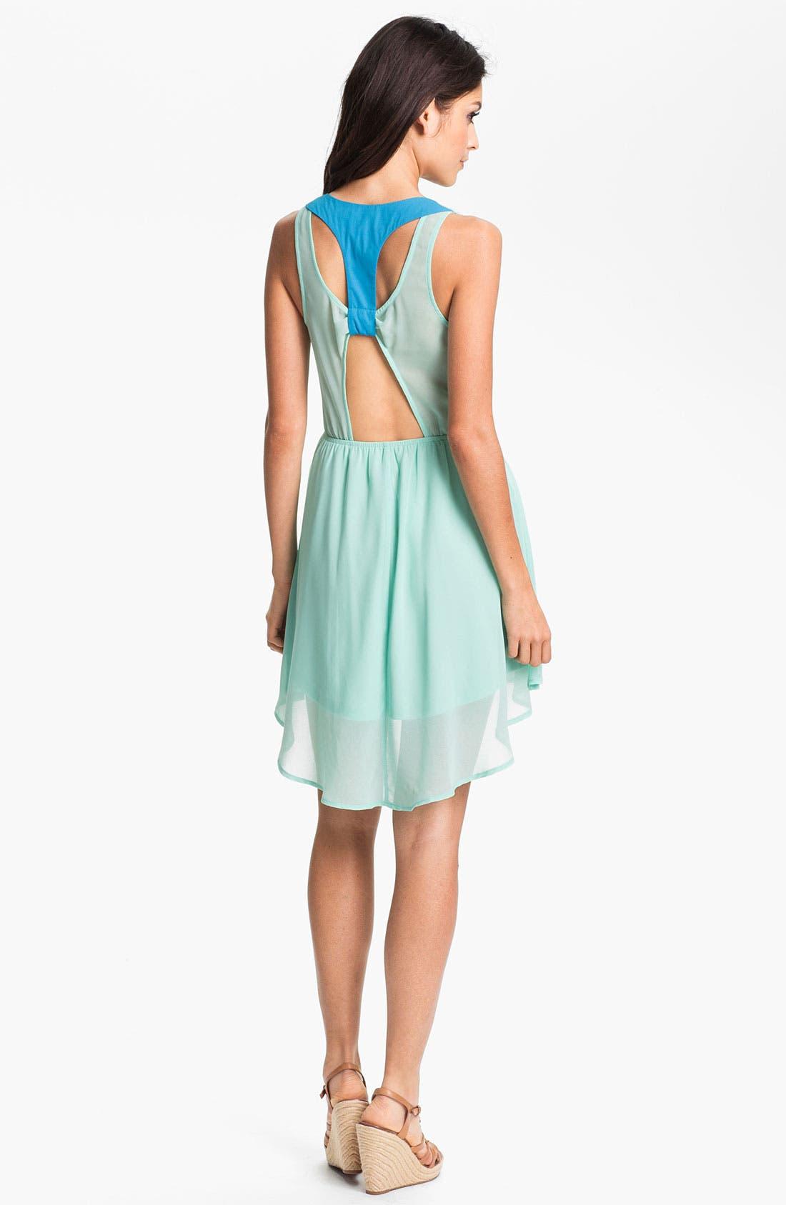 ---,                             Colorblock Cutout Dress,                             Alternate thumbnail 3, color,                             325