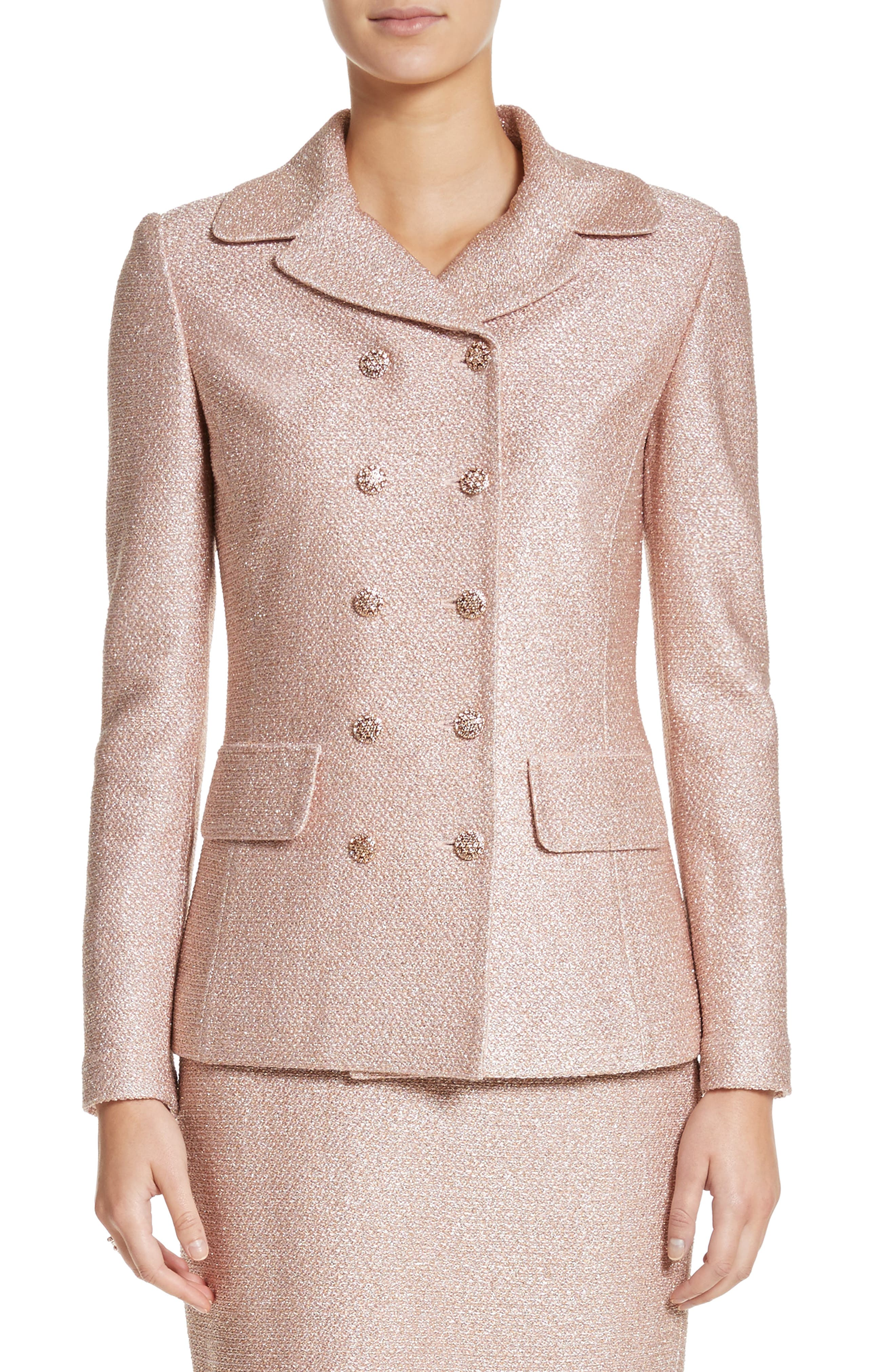 Double Breasted Frosted Metallic Knit Jacket,                             Main thumbnail 1, color,                             660