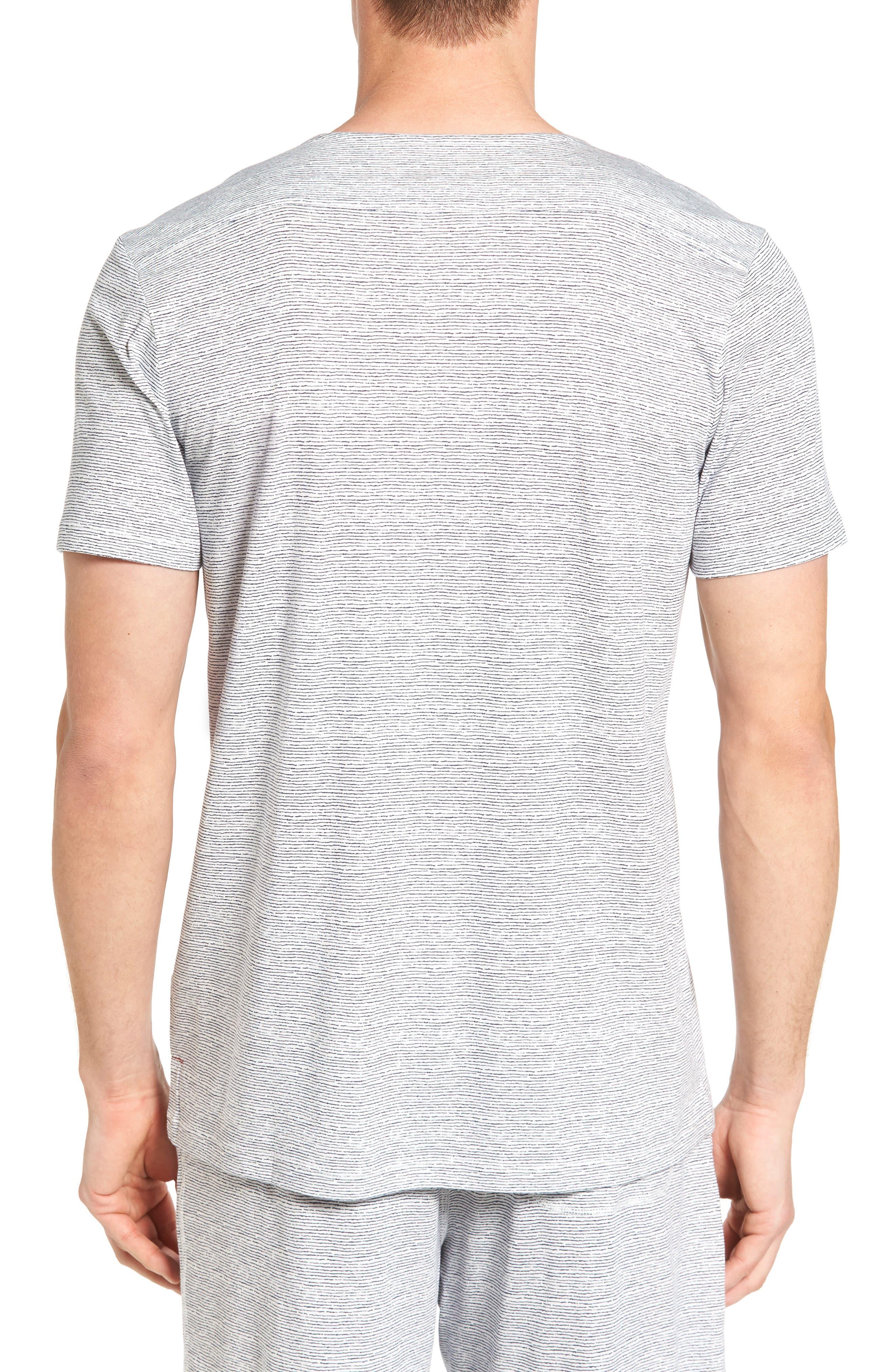 Feeder Stripe Pima Cotton & Modal V-Neck T-Shirt,                             Alternate thumbnail 5, color,