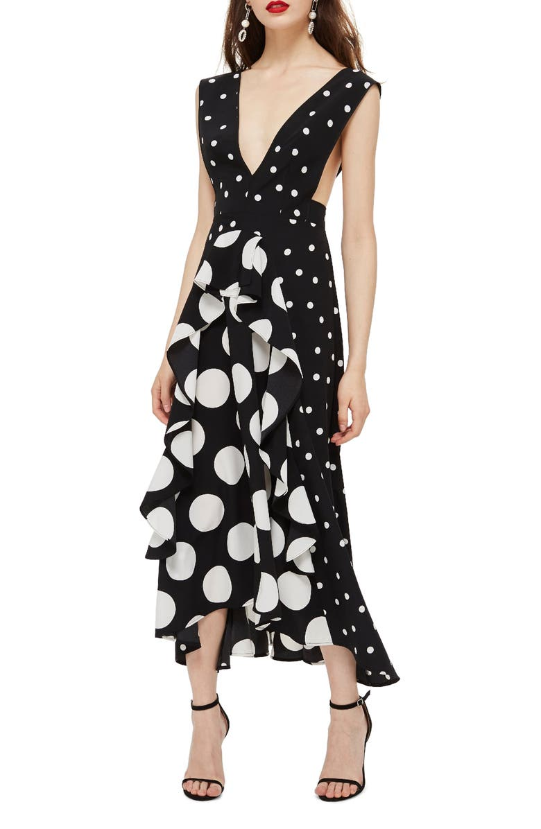 Topshop Spot Plunge Neck Midi Dress  1b1b8751f