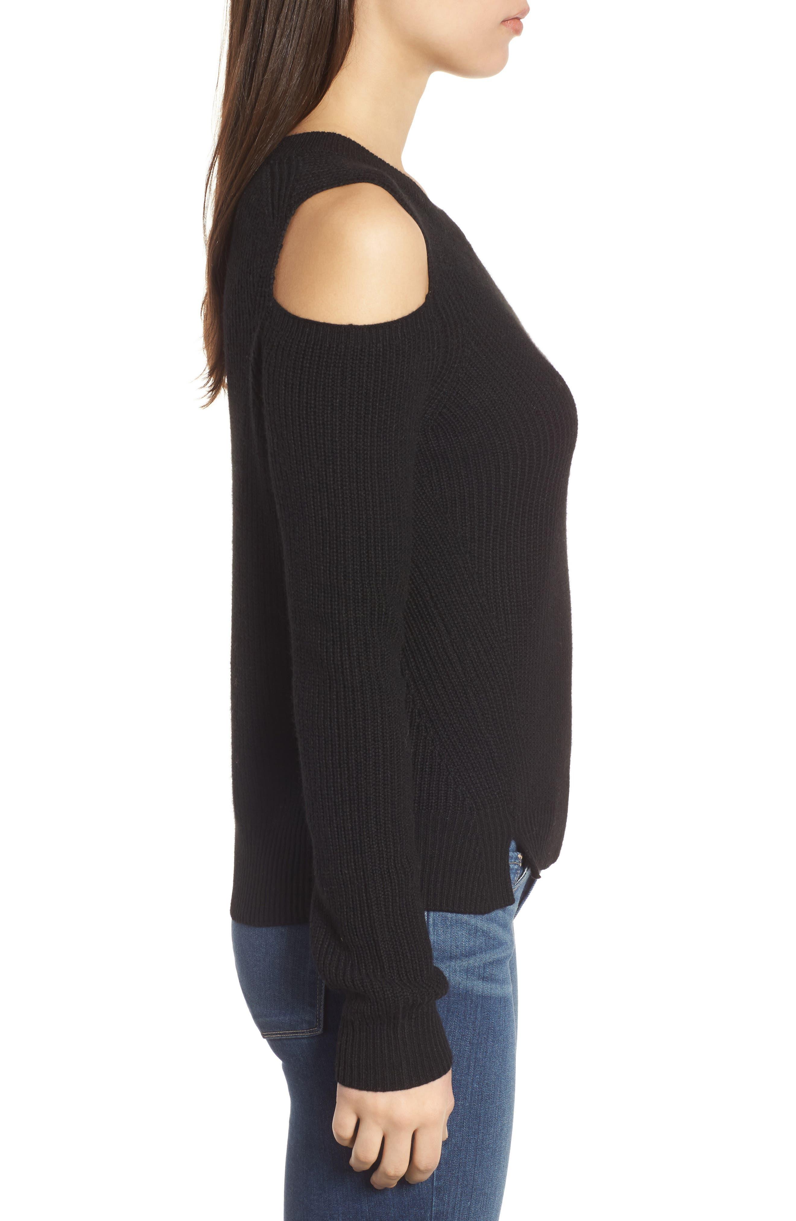 Cold Shoulder Pullover,                             Alternate thumbnail 3, color,                             001