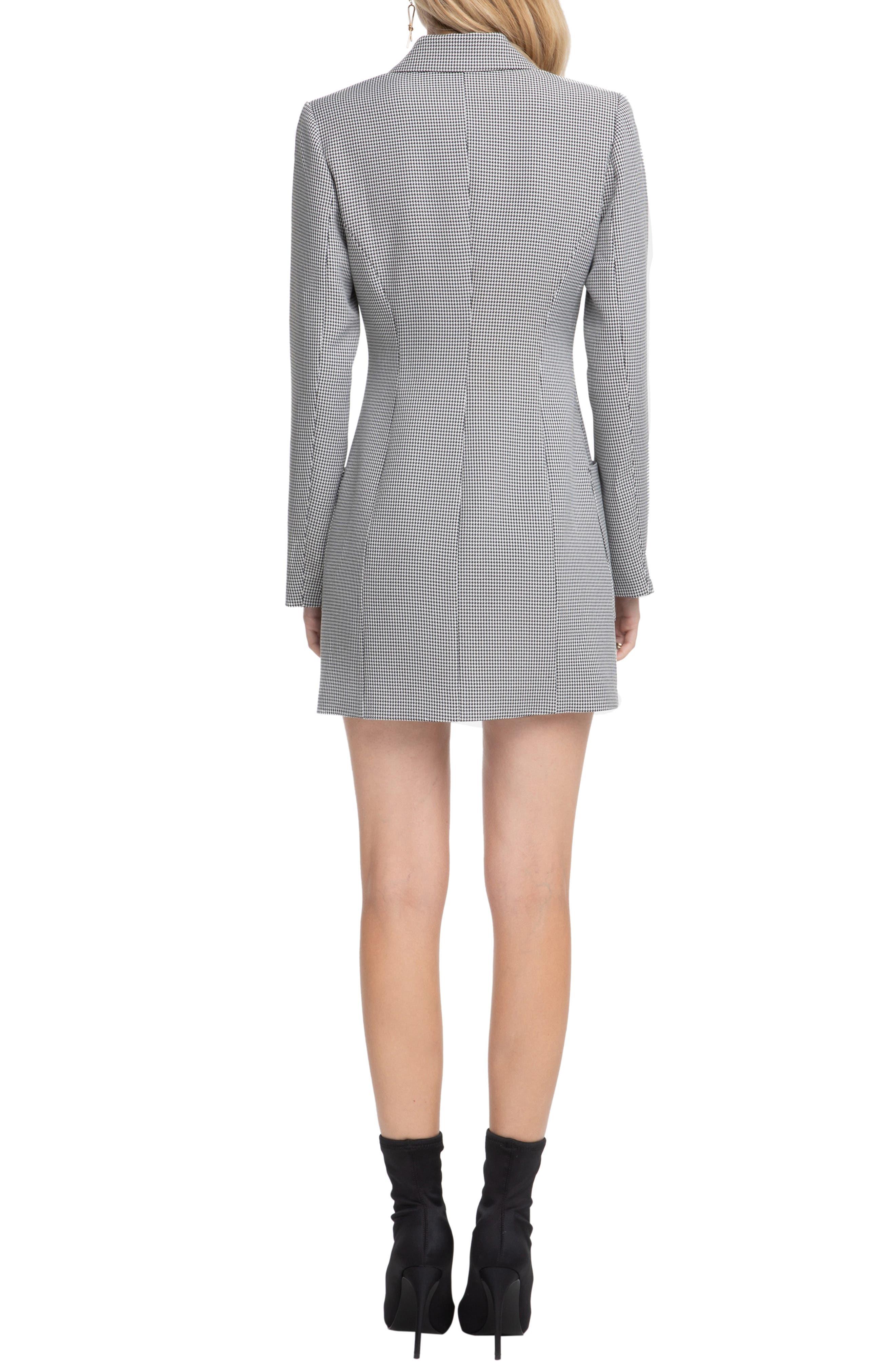 ASTR THE LABEL,                             Houndstooth Blazer Dress,                             Alternate thumbnail 2, color,                             BLACK/ WHITE