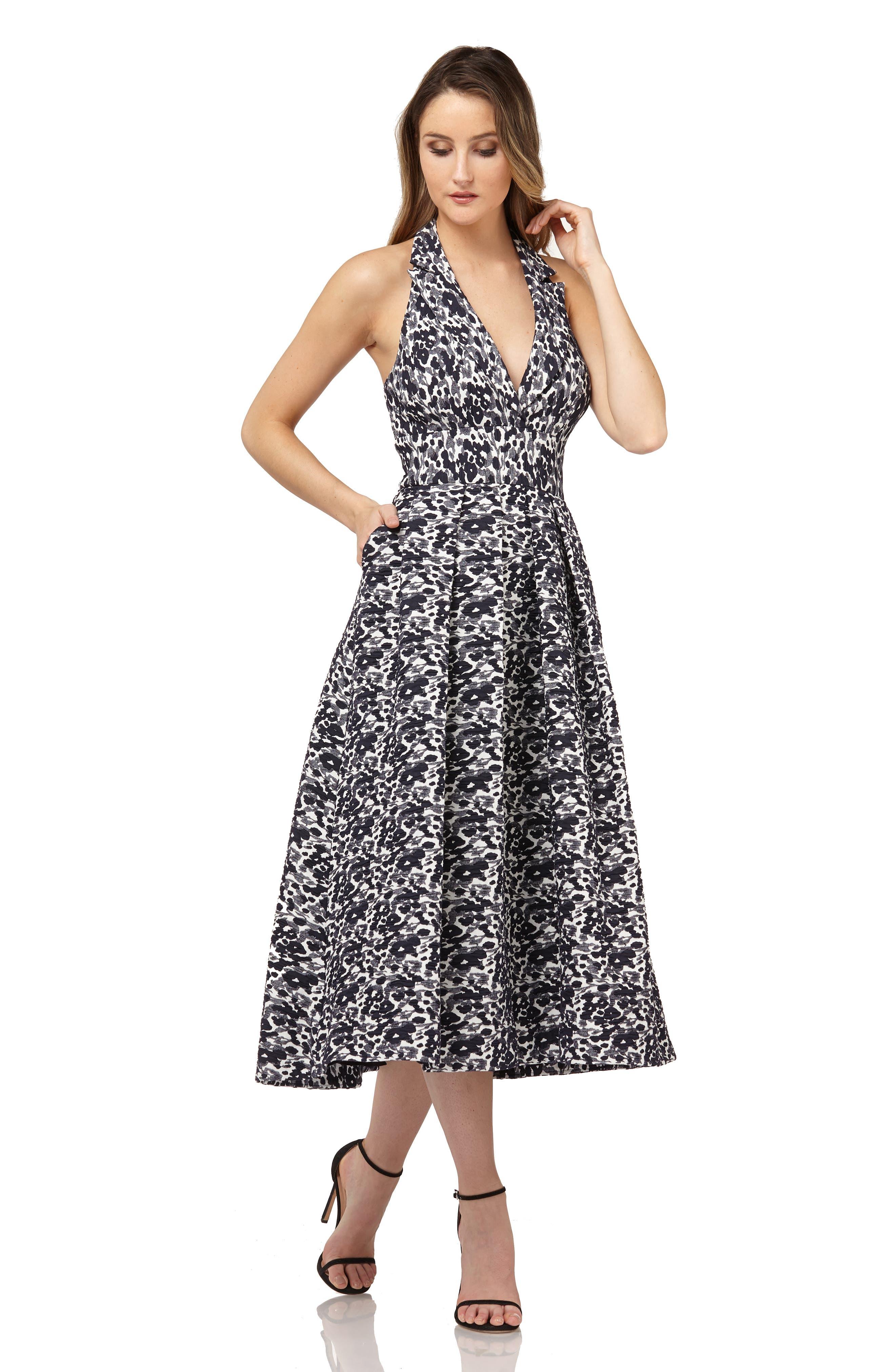 Halter Tea Length Dress,                             Alternate thumbnail 4, color,                             NAVY MULTI