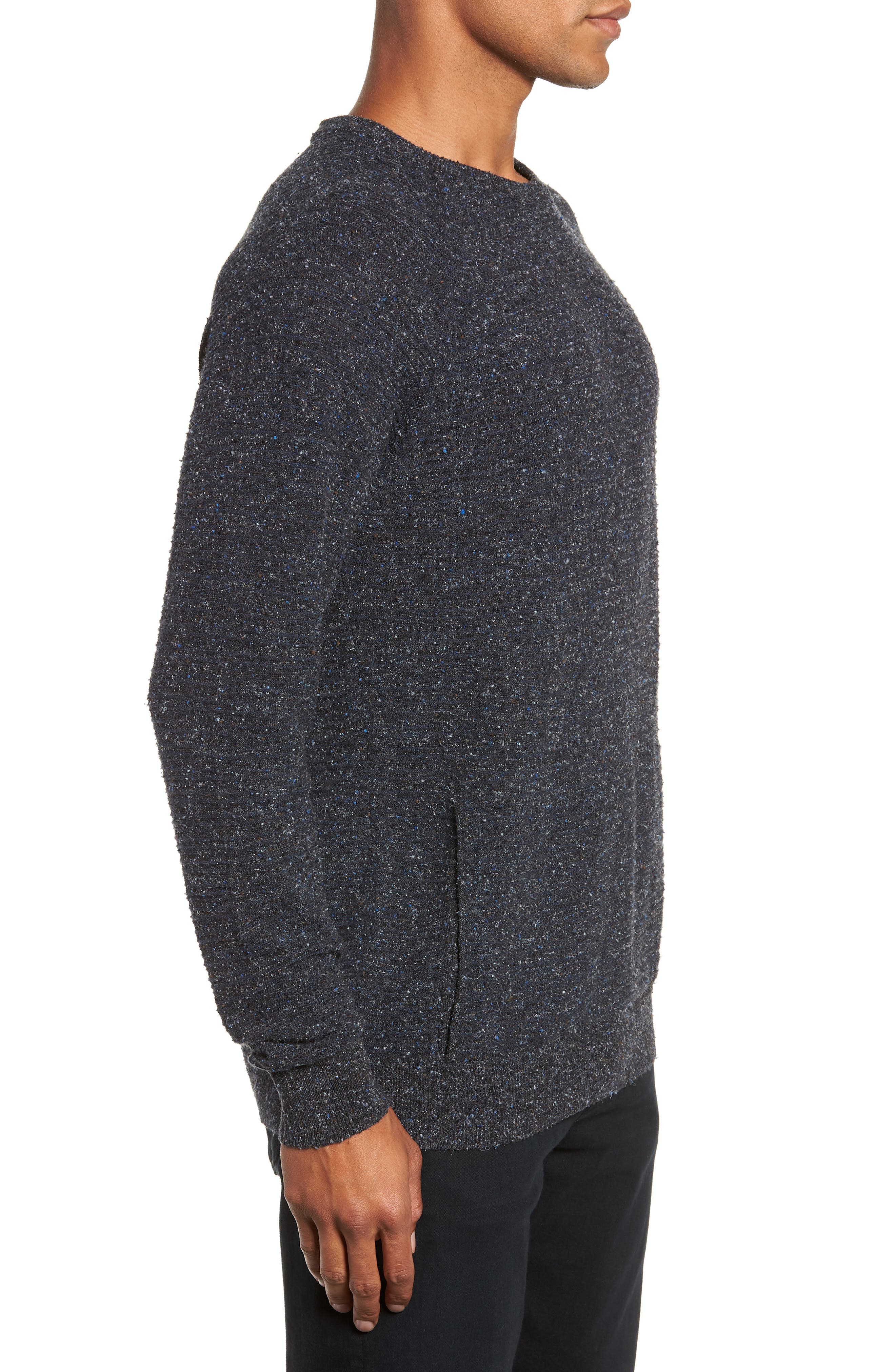 Speckle Stripe Sweater,                             Alternate thumbnail 3, color,                             NAVY/ CHARCOAL