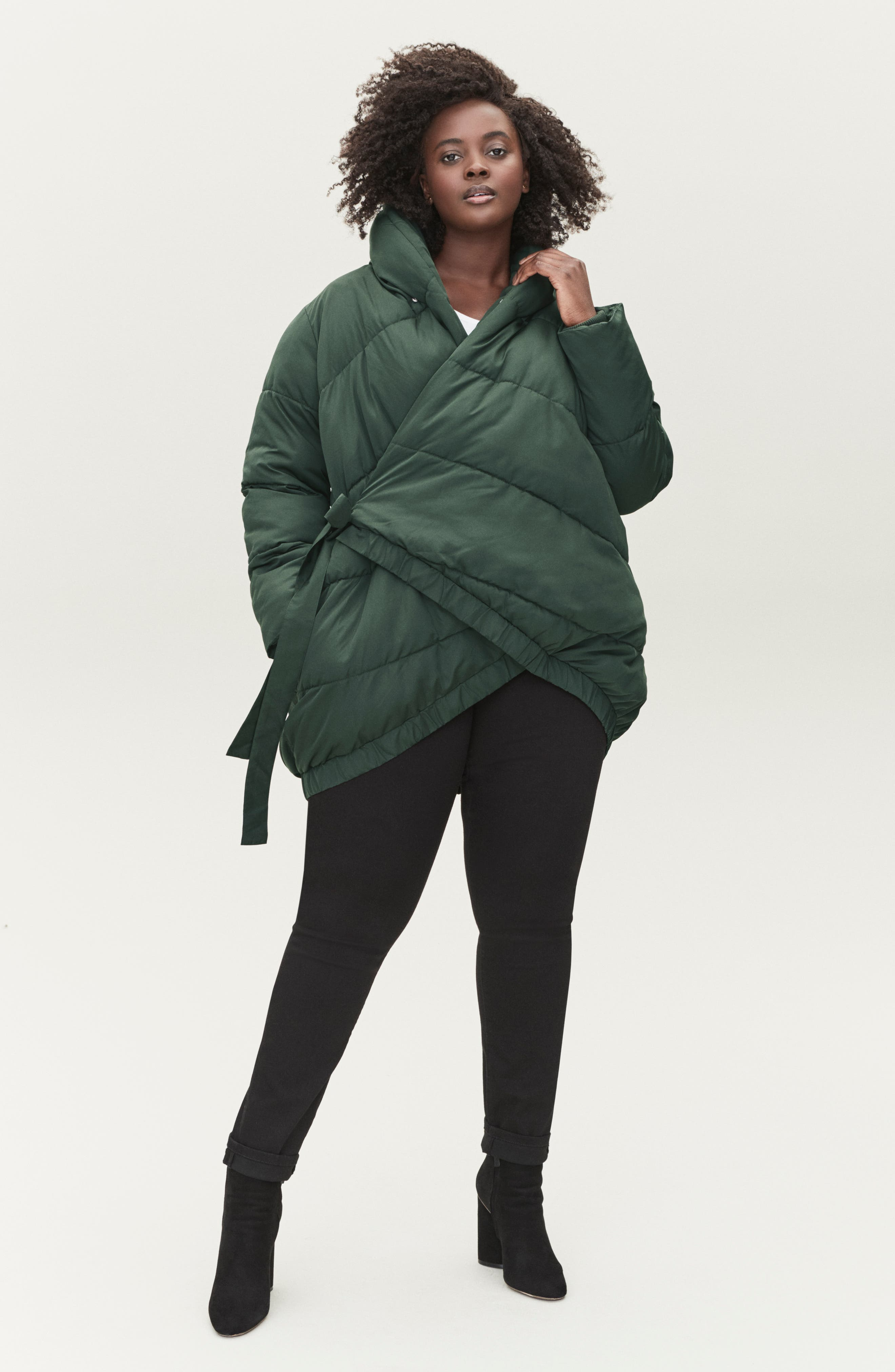 UNIVERSAL STANDARD,                             Kanda Puffer Coat,                             Alternate thumbnail 5, color,                             HUNTER GREEN