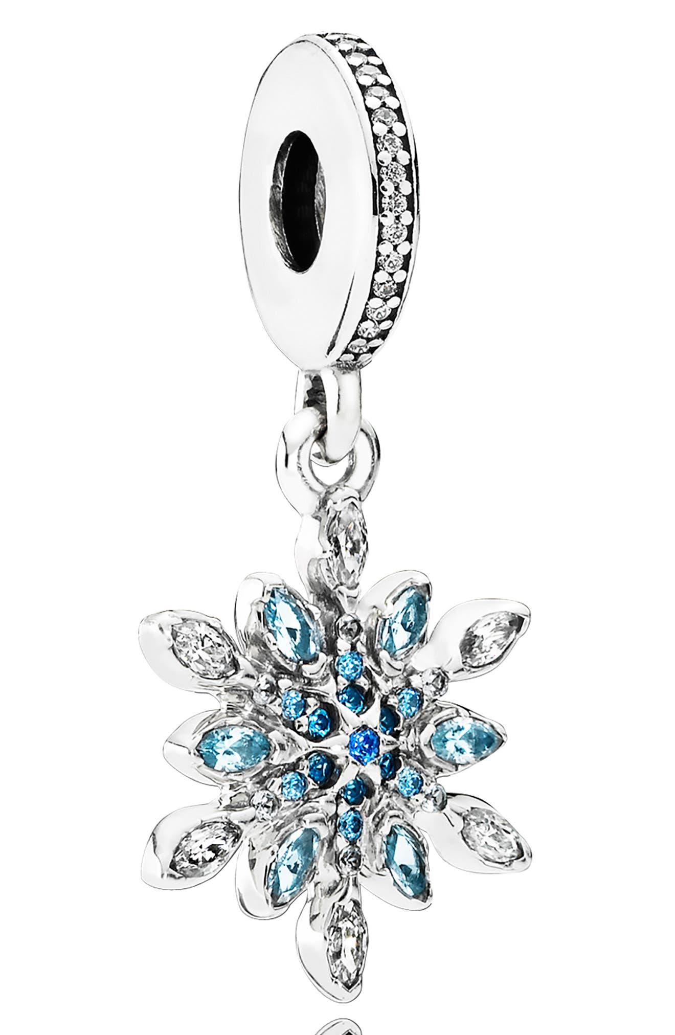 Crystallized Snowflake Dangle Charm, Main, color, SILVER